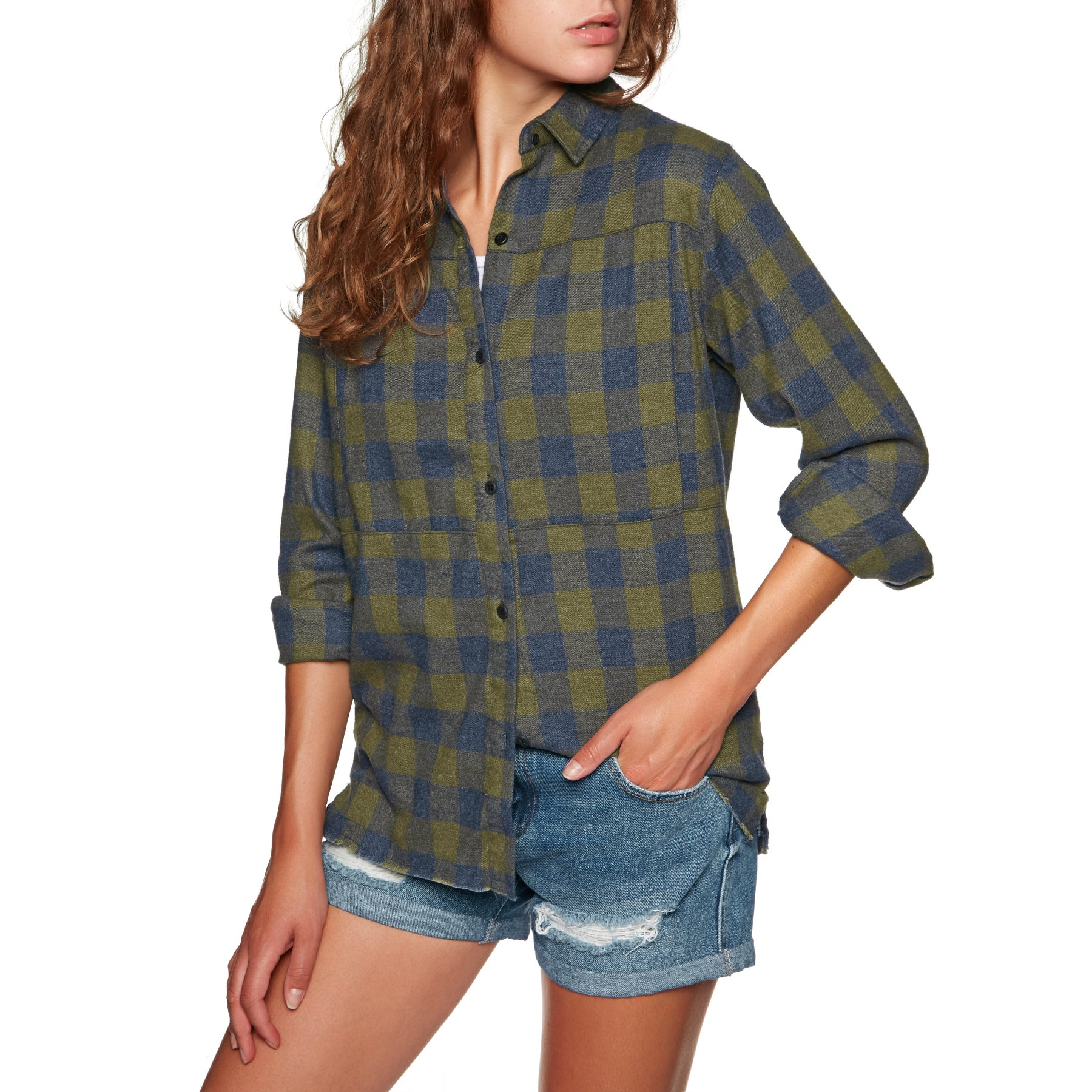 Hurley Wilson Flannel Womens Shirt - Olive Canvas