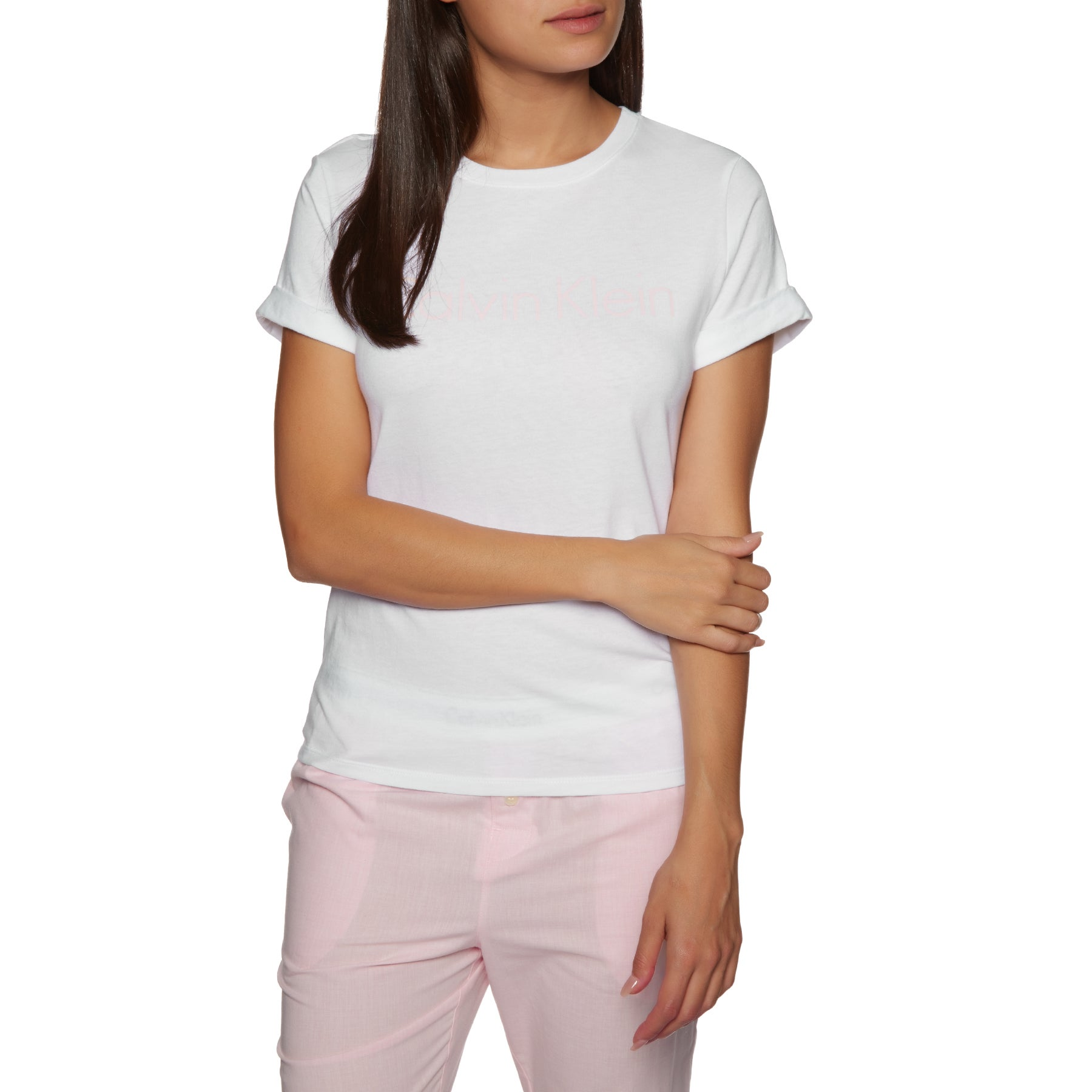 Calvin Klein Cotton Coord Top S/s Crew Neck Womens Short Sleeve T-Shirt - White W Nymphs Thigh