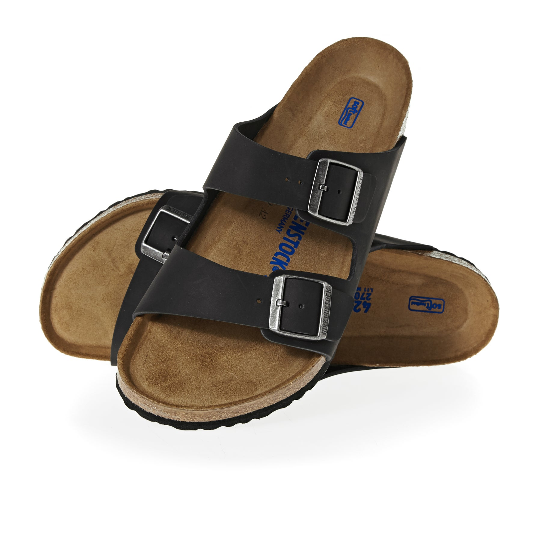 Birkenstock Arizona Oiled Leather Soft Footbed Sandals - Black