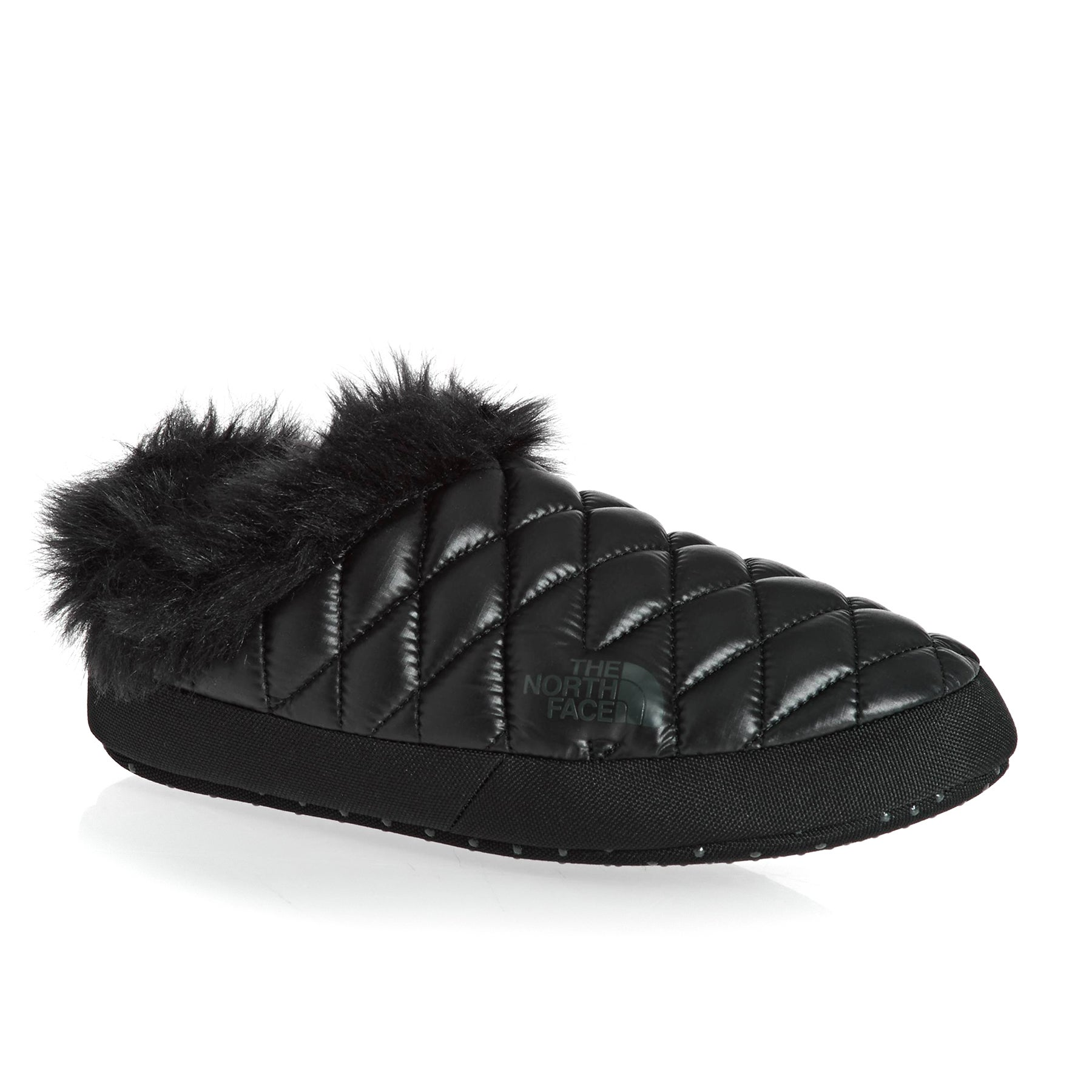 North Face Thermoball Tent Mule Faux Fur IV Womens Slippers - Shiny TNF Black