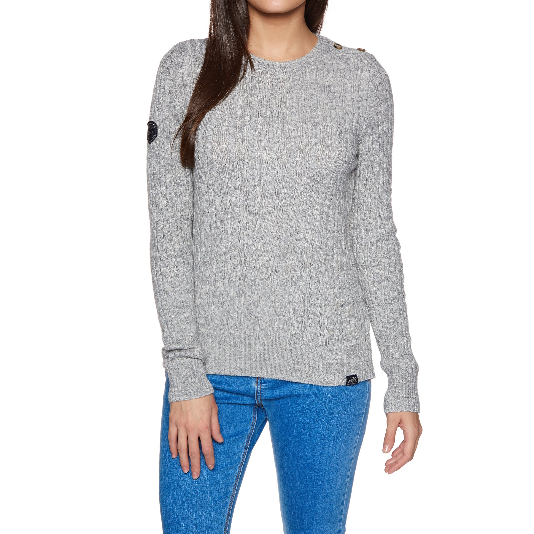 Knits Senhora Superdry Croyde Cable Knit - Grey Marl