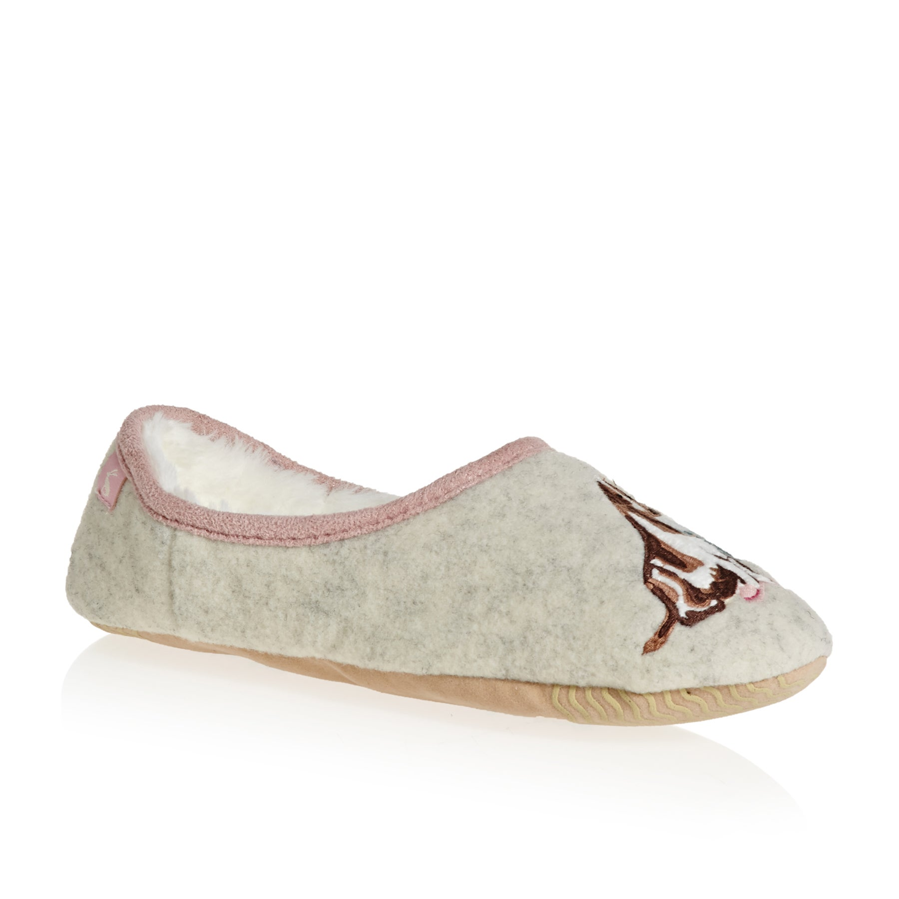 Joules Slippets Mules With Applique Womens Slippers - Cream Dogs