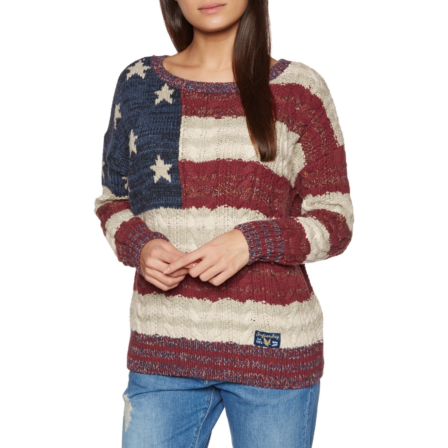 Knits Senhora Superdry Americana Cable Knit - Navy/burnt Red/ecru