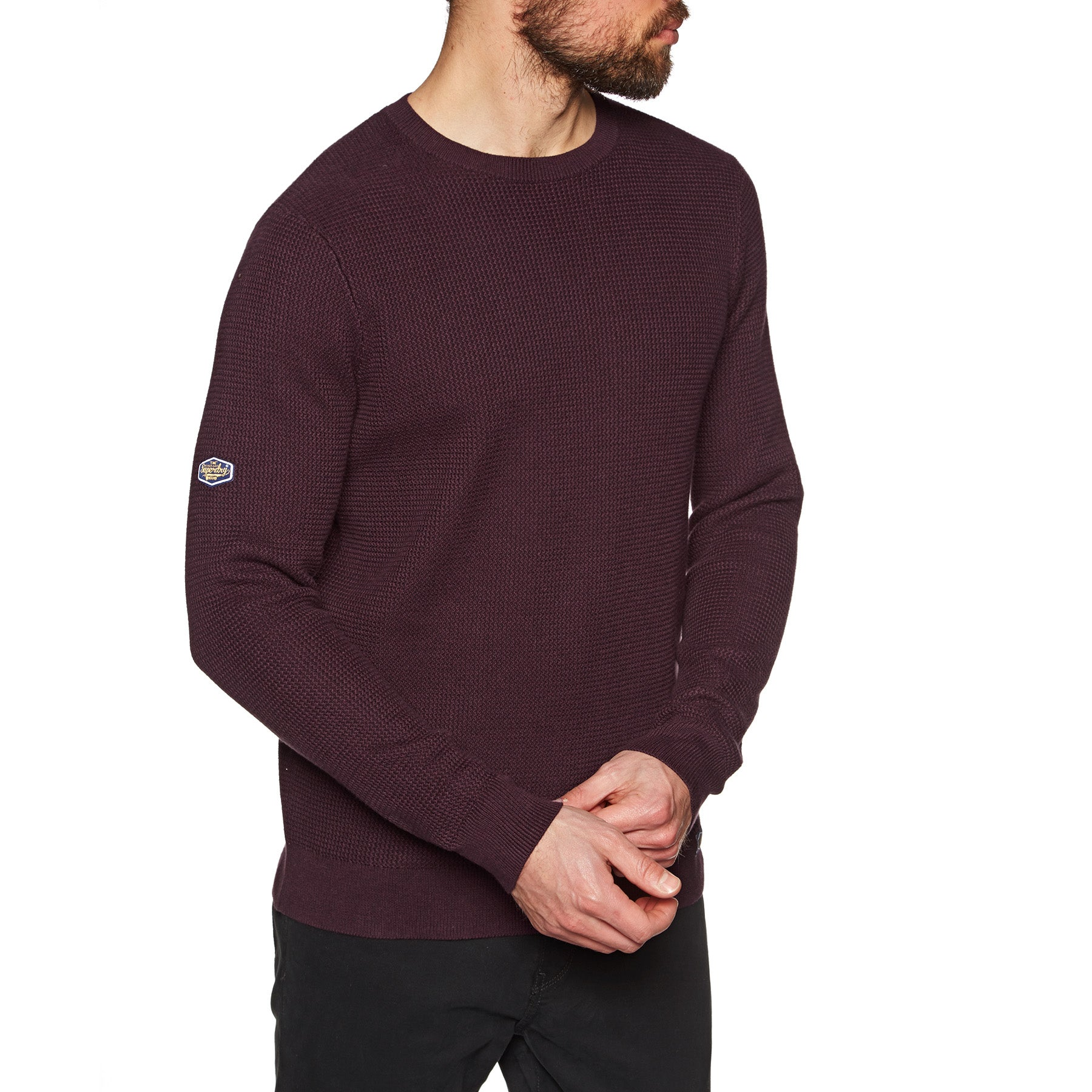 Superdry Academy Textured Crew Knits - Deep Port