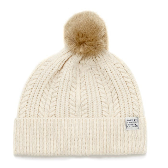ed32f3b6143db Joules Cable Knit Bobble Womens Beanie available from Surfdome
