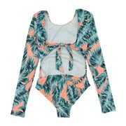 Seafolly Native Jungle L/s Cut Out Surf Tank Girls Swimsuit