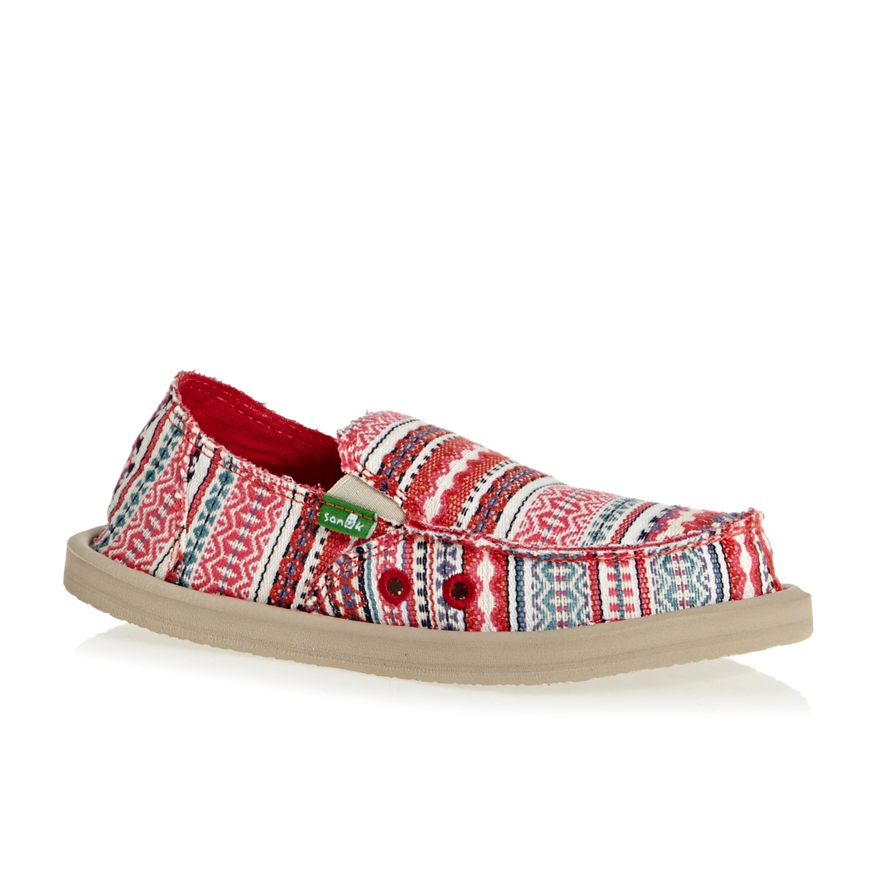 Sanuk Y Lil Donna Blanket Kids Slip On Shoes - Rapsberry Lanai Blanket