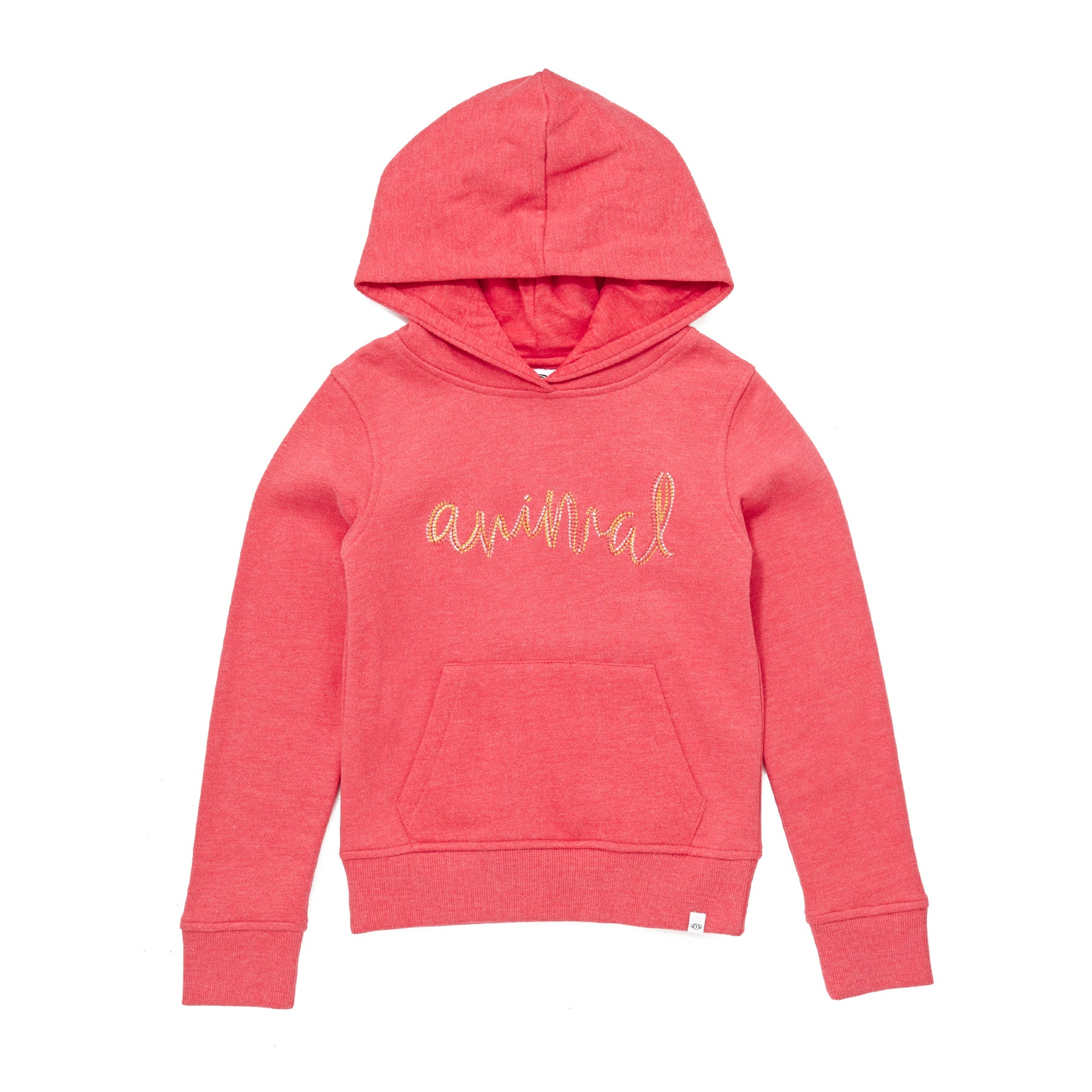 Animal Rachelle Girls Pullover Hoody - Candy Red Marl