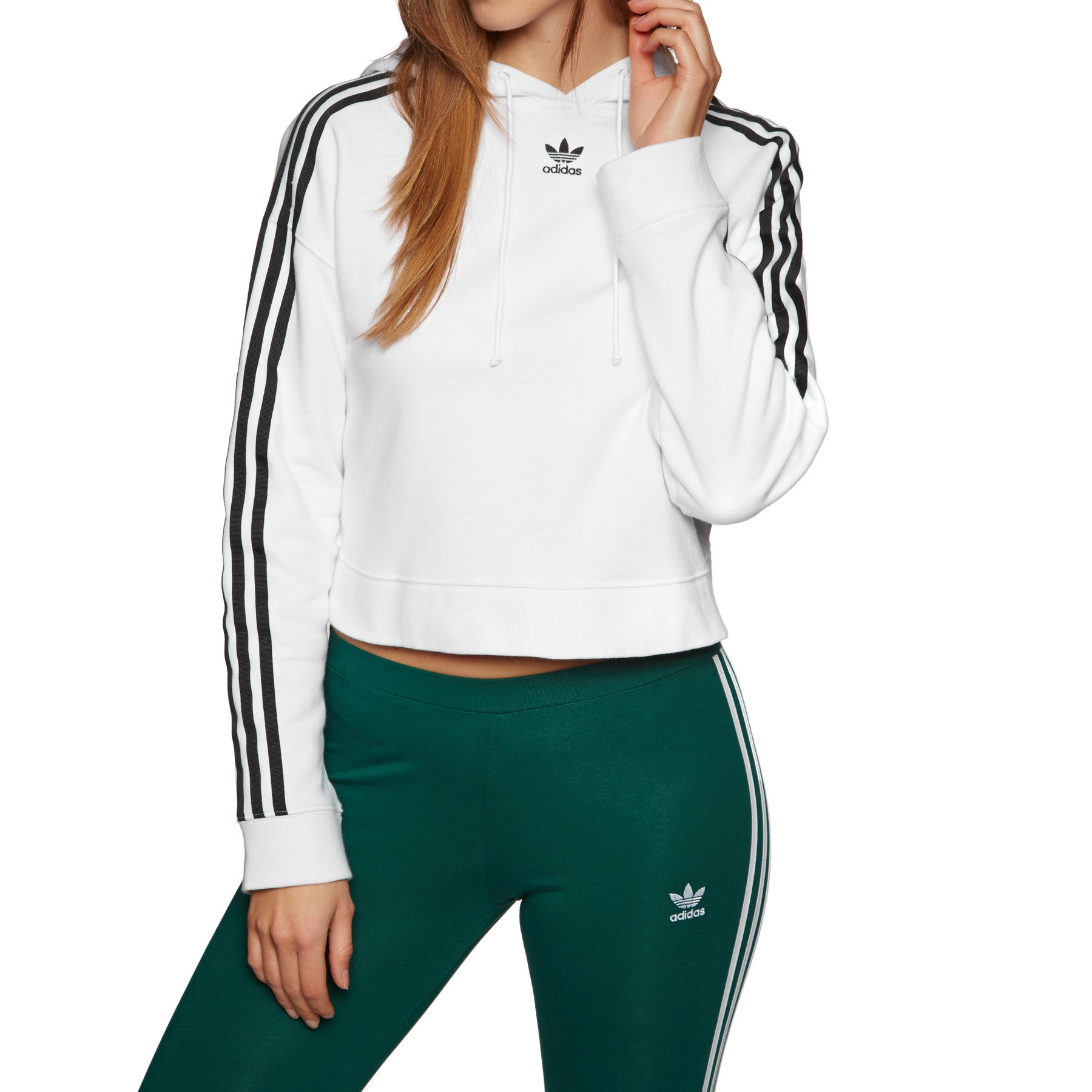 Adidas Originals Cropped Pullover Hoody - White