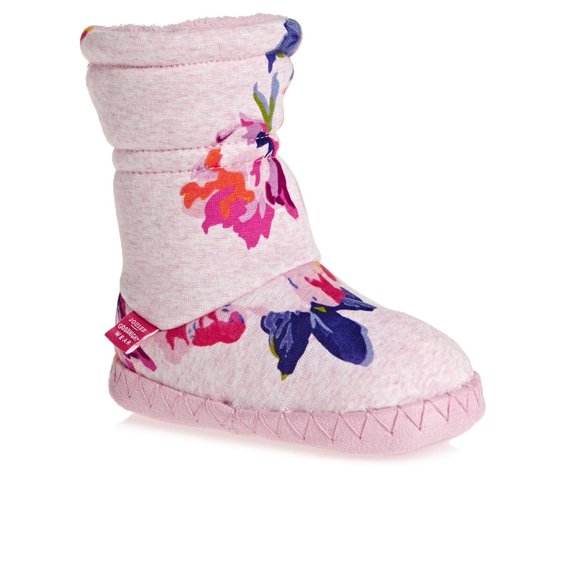 Joules Padabout Girls Slippers - Pink Marl Granny Floral