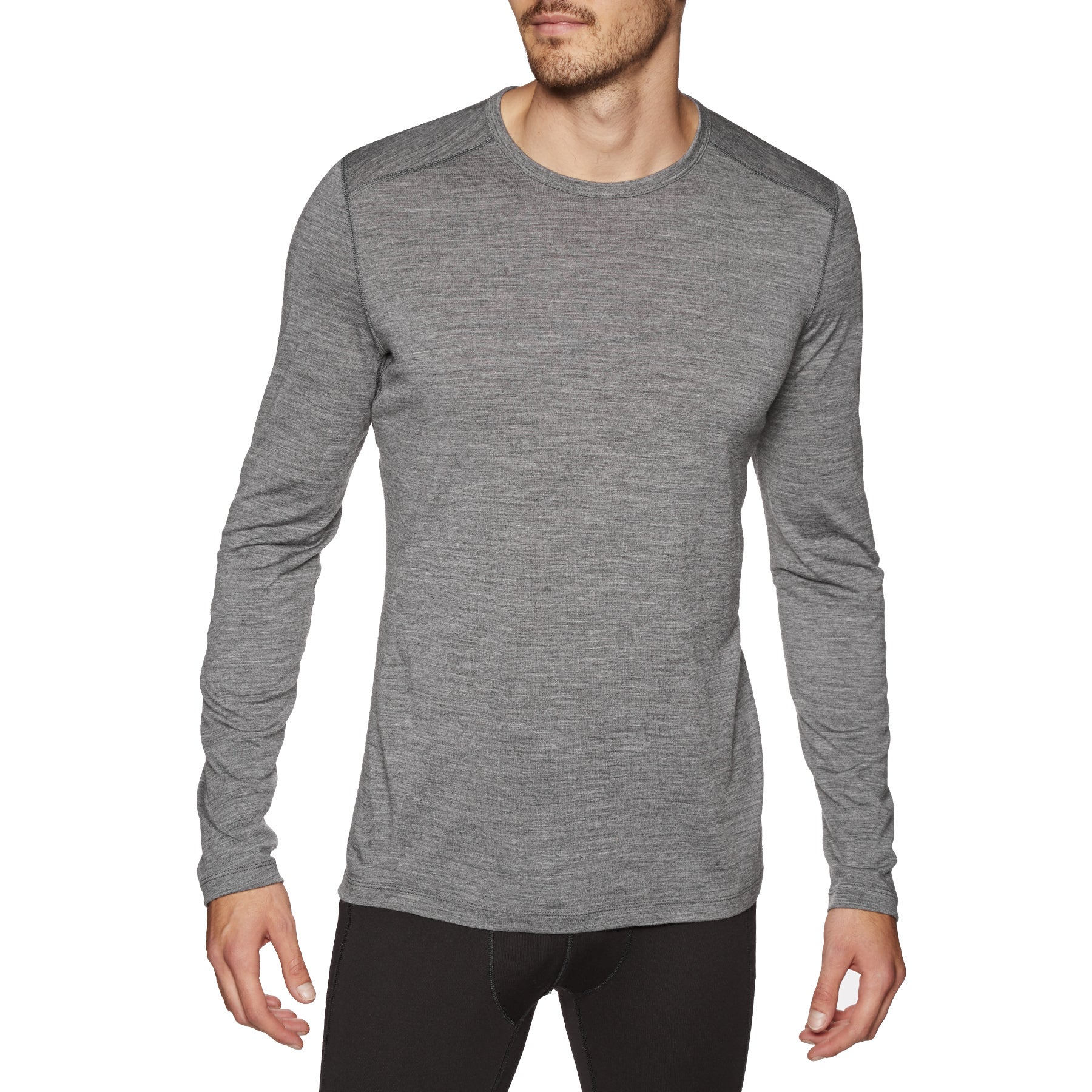 Icebreaker Mens 200 Oasis Ls Crewe Base Layer Top - Gritstone Hthr