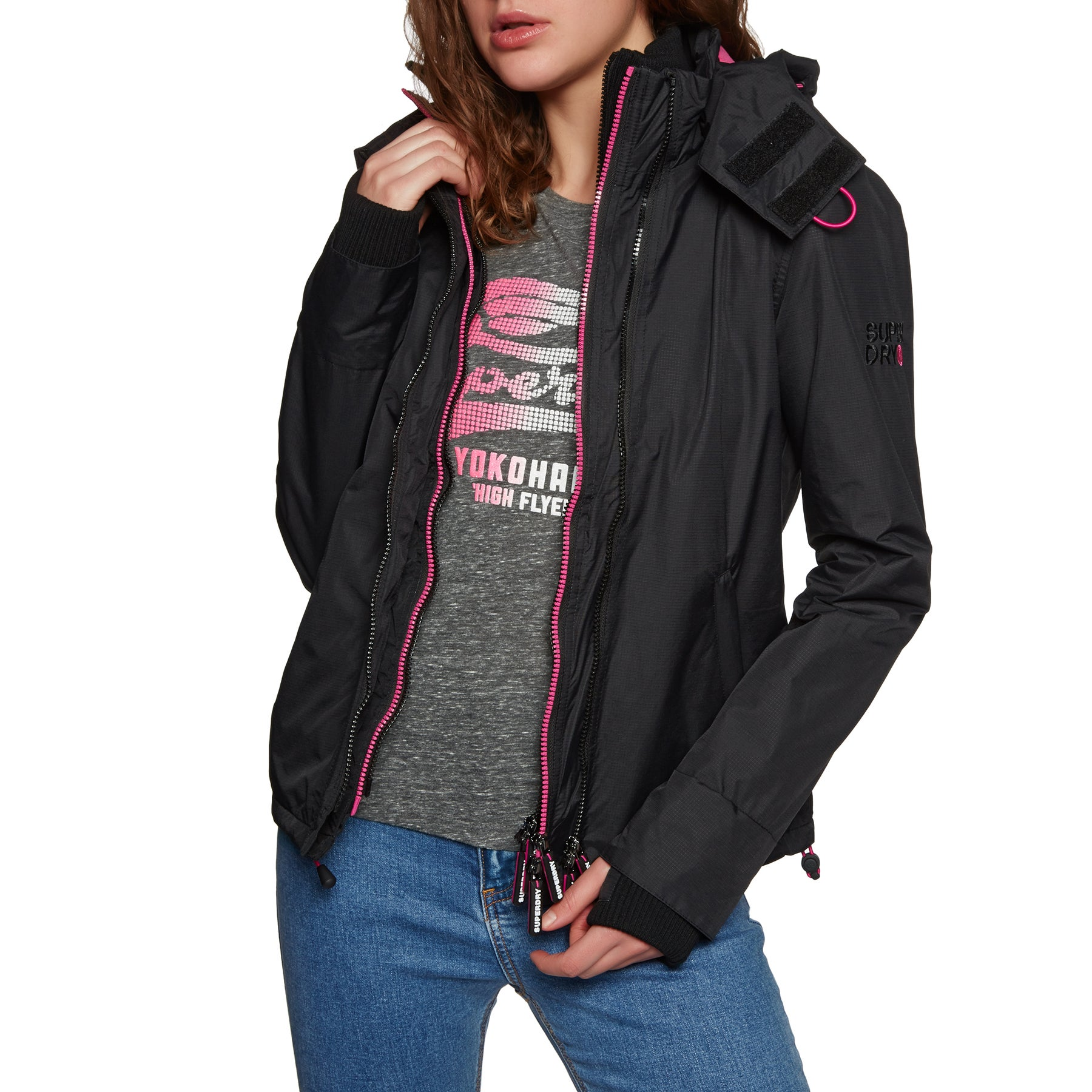 Superdry Arctic Hooded Pop Zip Sd-windcheater Womens Jacket - Black/raspberry