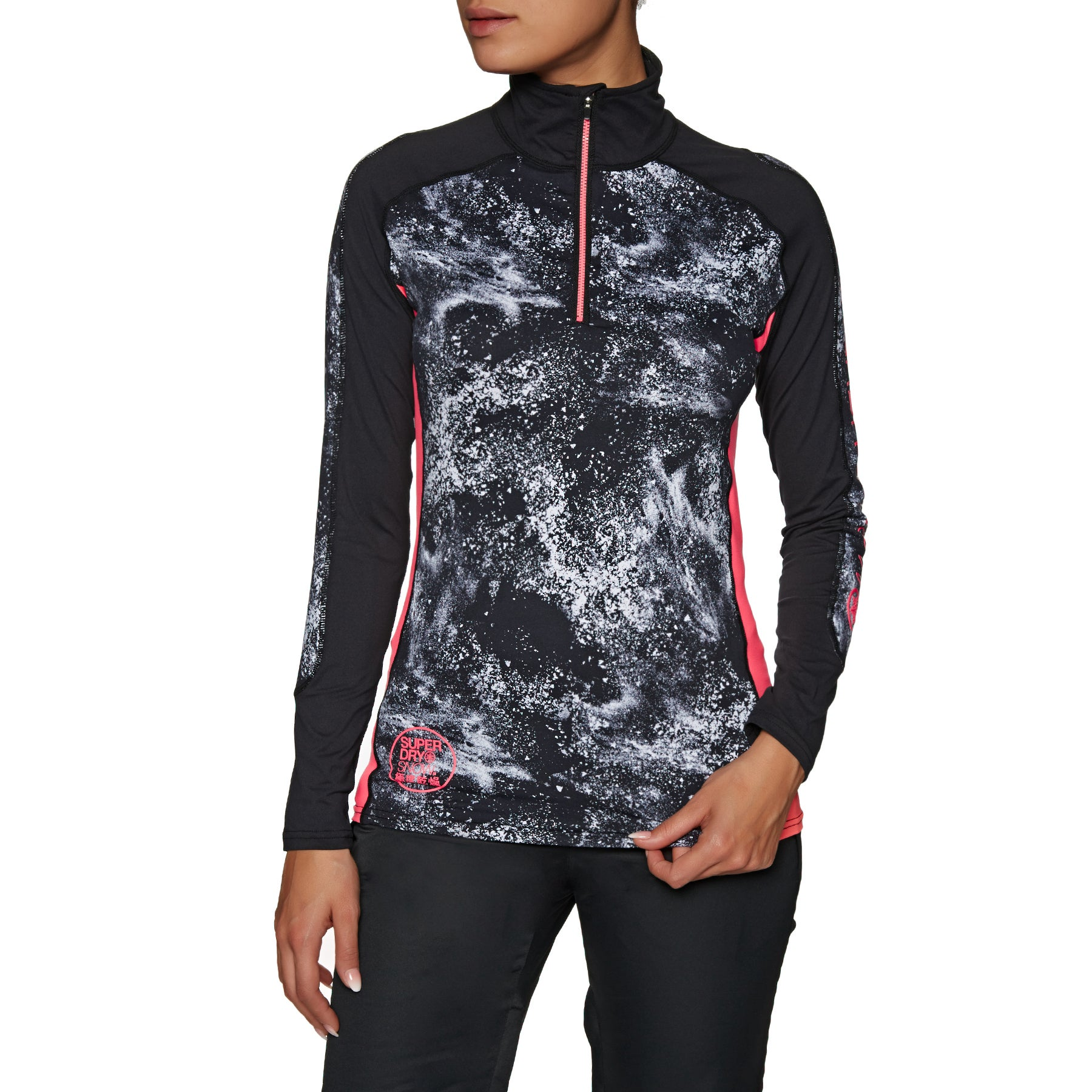 Superdry Carbon Baselayer Zip Top Womens Base Layer Top - Snow Spray