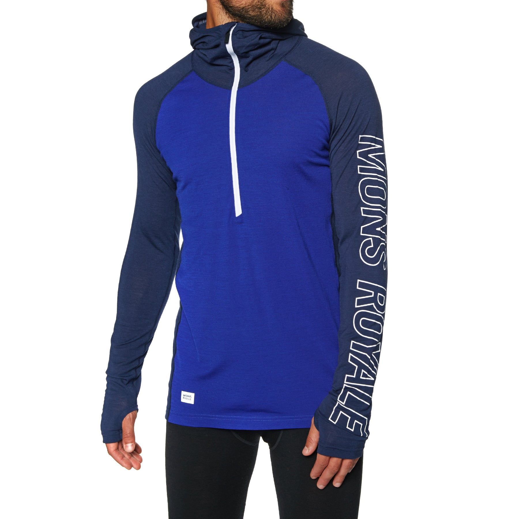 Mons Royale Temple Tech Hooded Base Layer Top - Navy Electric Blue