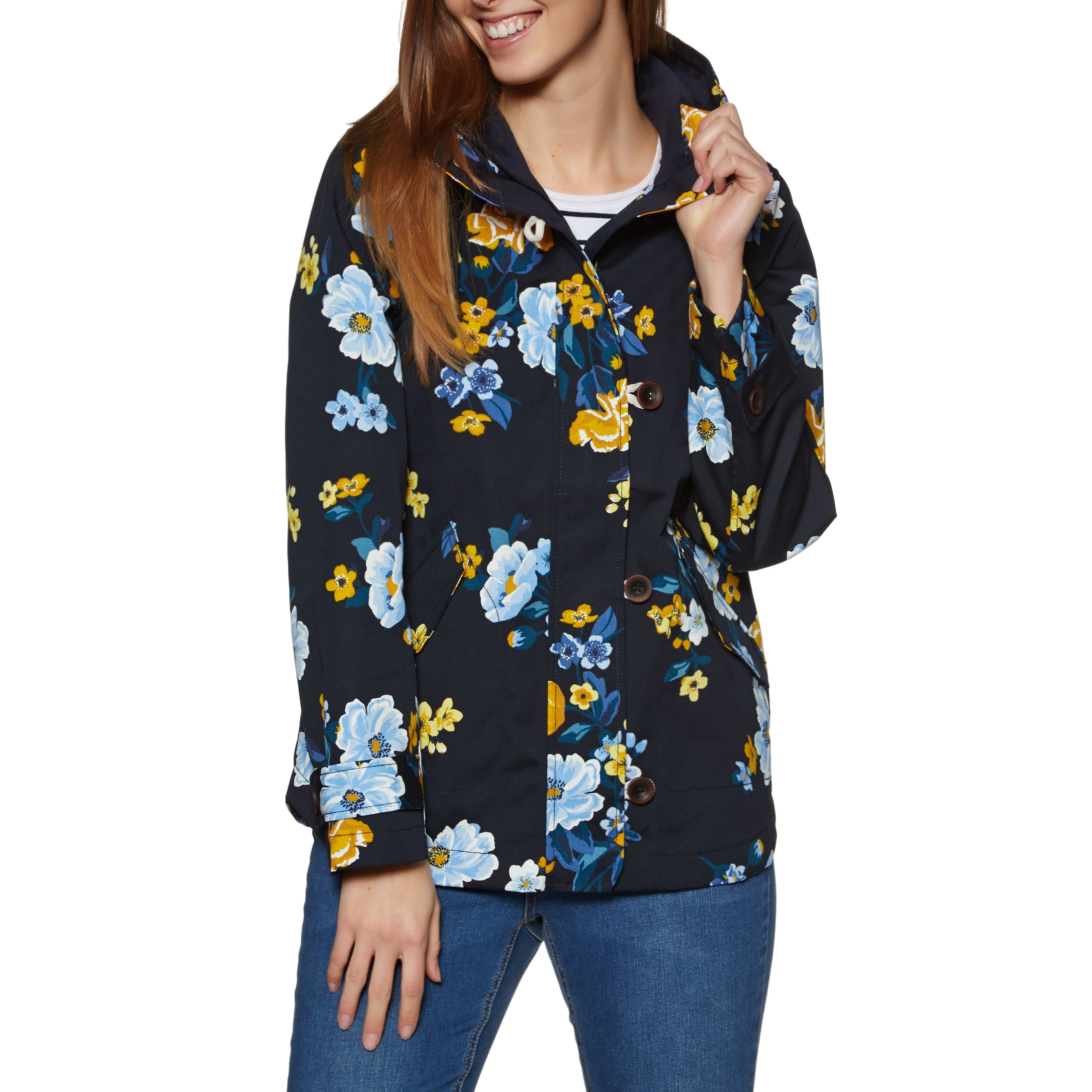 Joules Coast Print Womens Jacket - Navy Bouquet