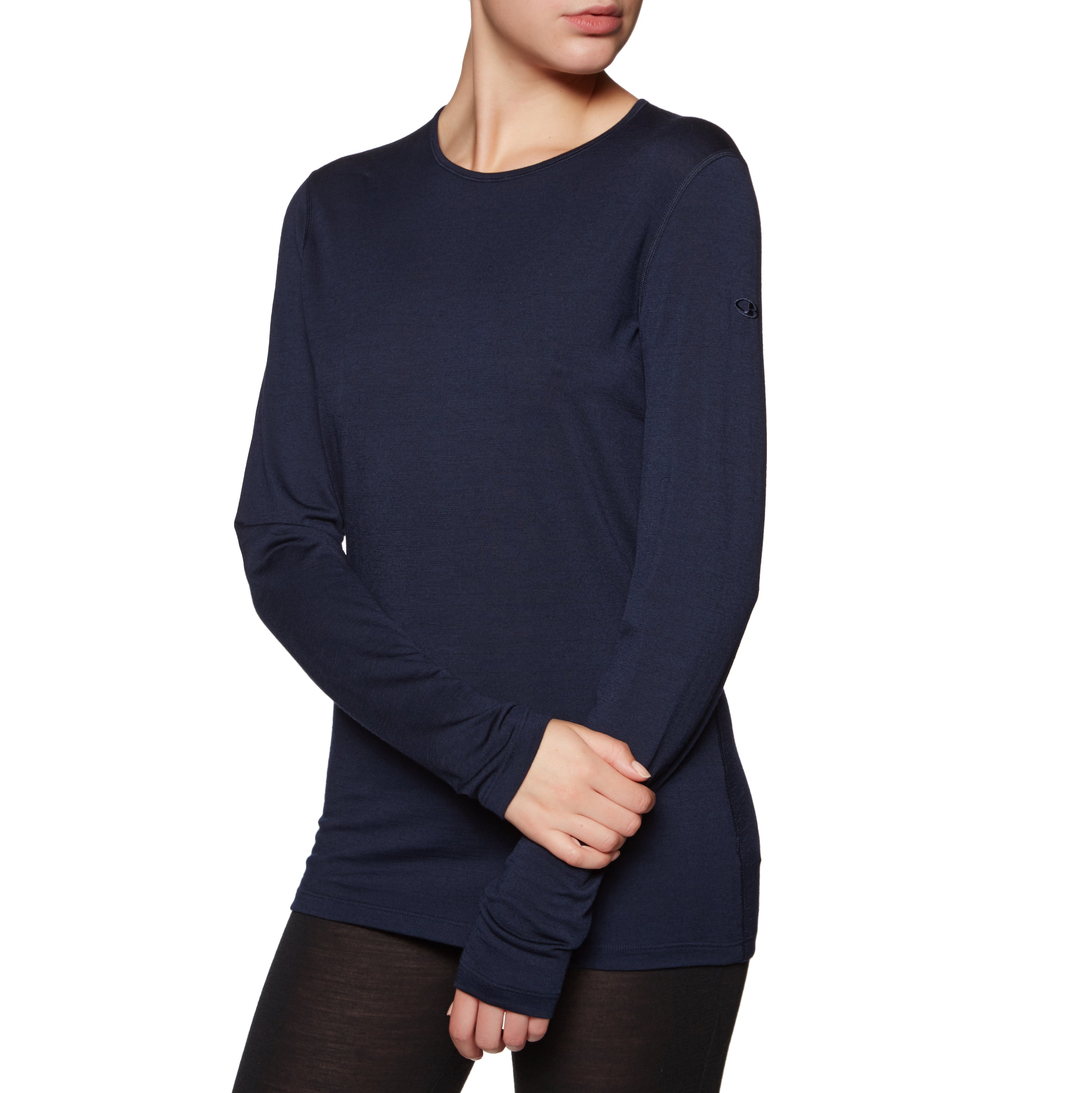 Icebreaker 200 Oasis Long Sleeve Crewe Womens Base Layer Top - Midnight Navy