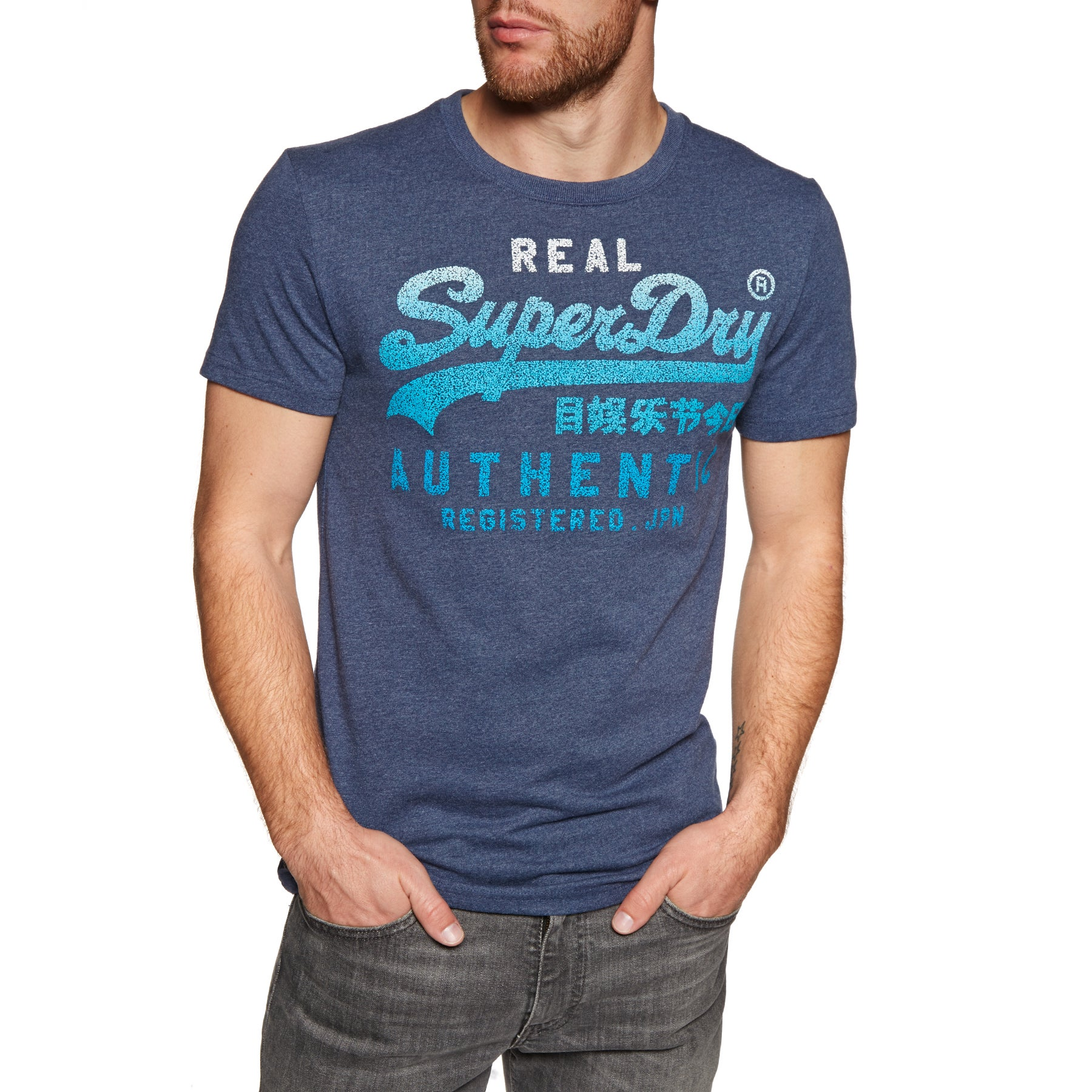 Superdry Vintage Authentic Fade Short Sleeve T-Shirt - Princedom Blue Marl