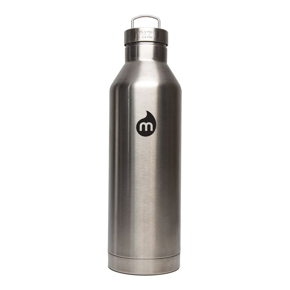 Mizu V8 w Steel Cap Flask - Stainless Black Print
