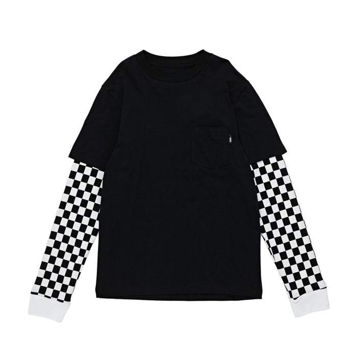 fef02cf968 Vans Checker Sleeve Two Fer Boys Long Sleeve T-Shirt available from Surfdome