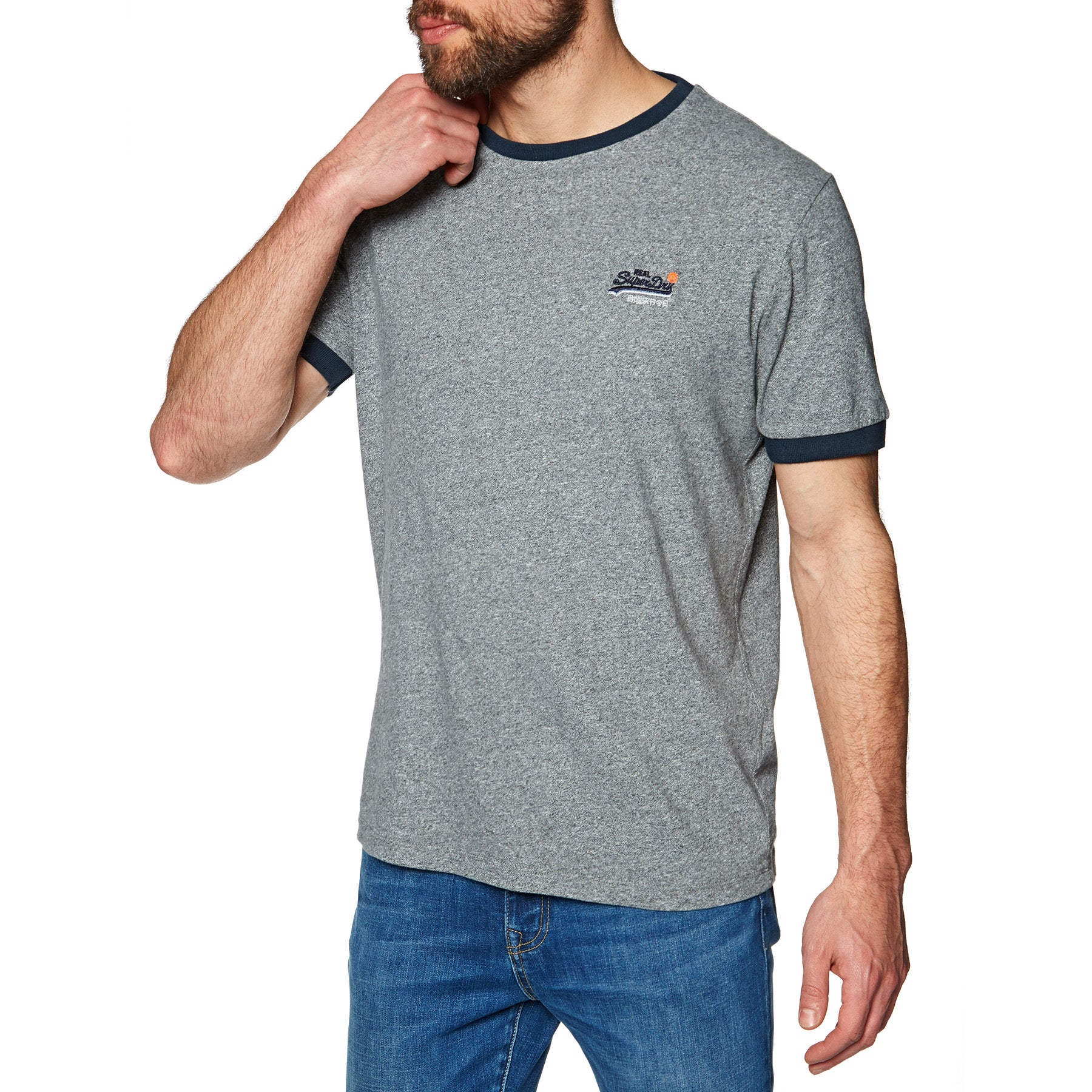 T-Shirt à Manche Courte Superdry Orange Label Cali Ringer - Paving Grey Grit