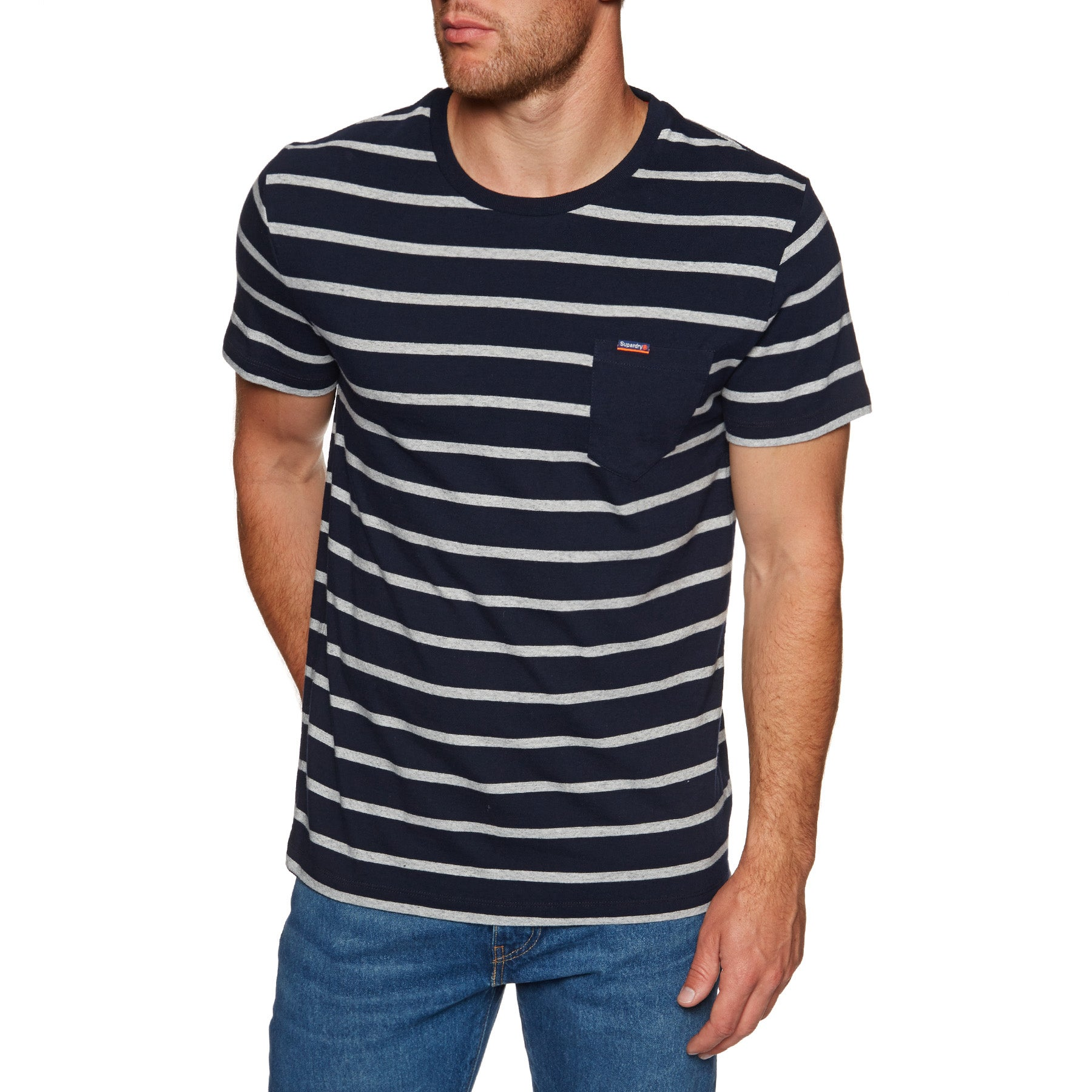 Superdry Orange Label Portland Stripe Pocket Short Sleeve T-Shirt - Navy Auto Stripe