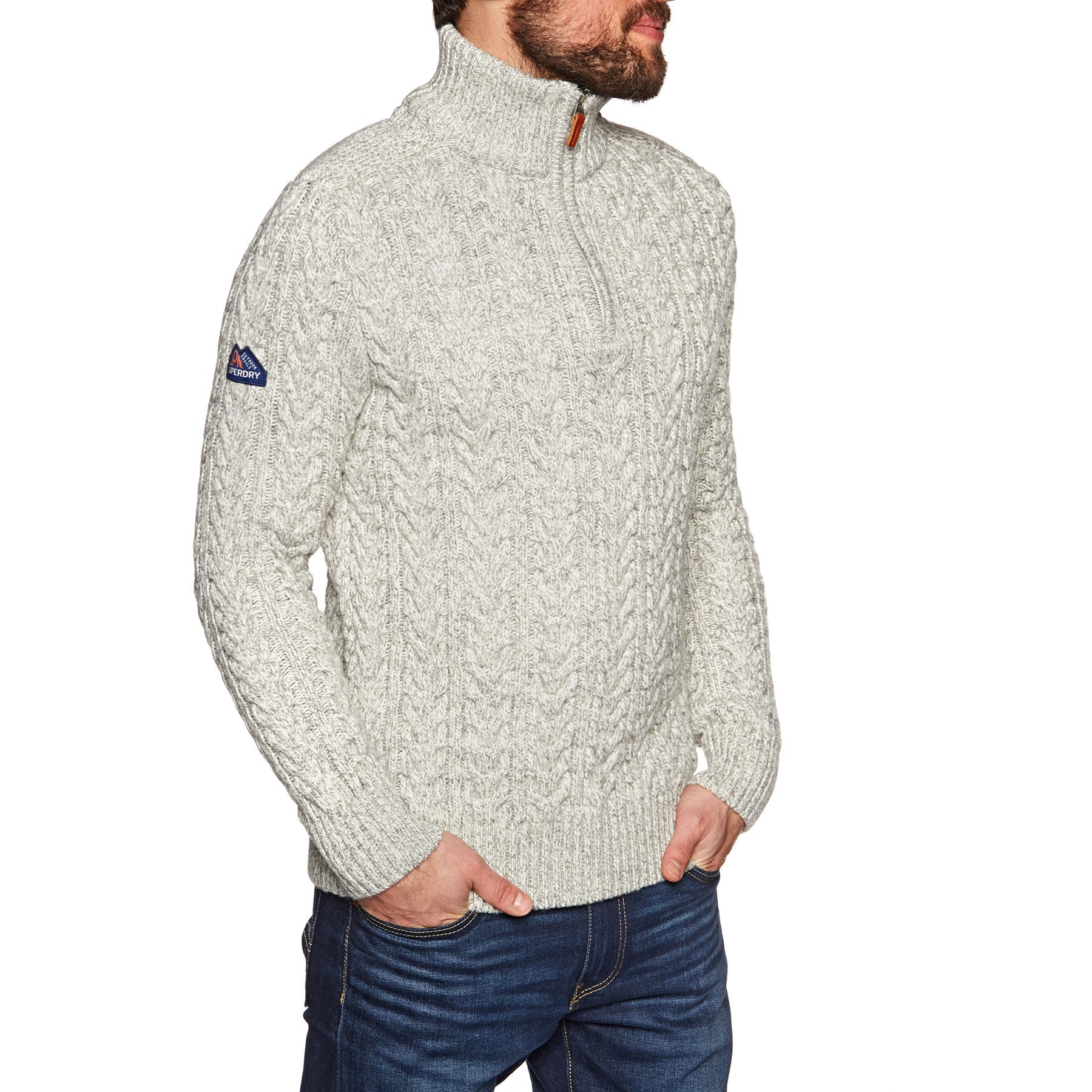 Superdry Jacob Henley Knits - Concrete Twist
