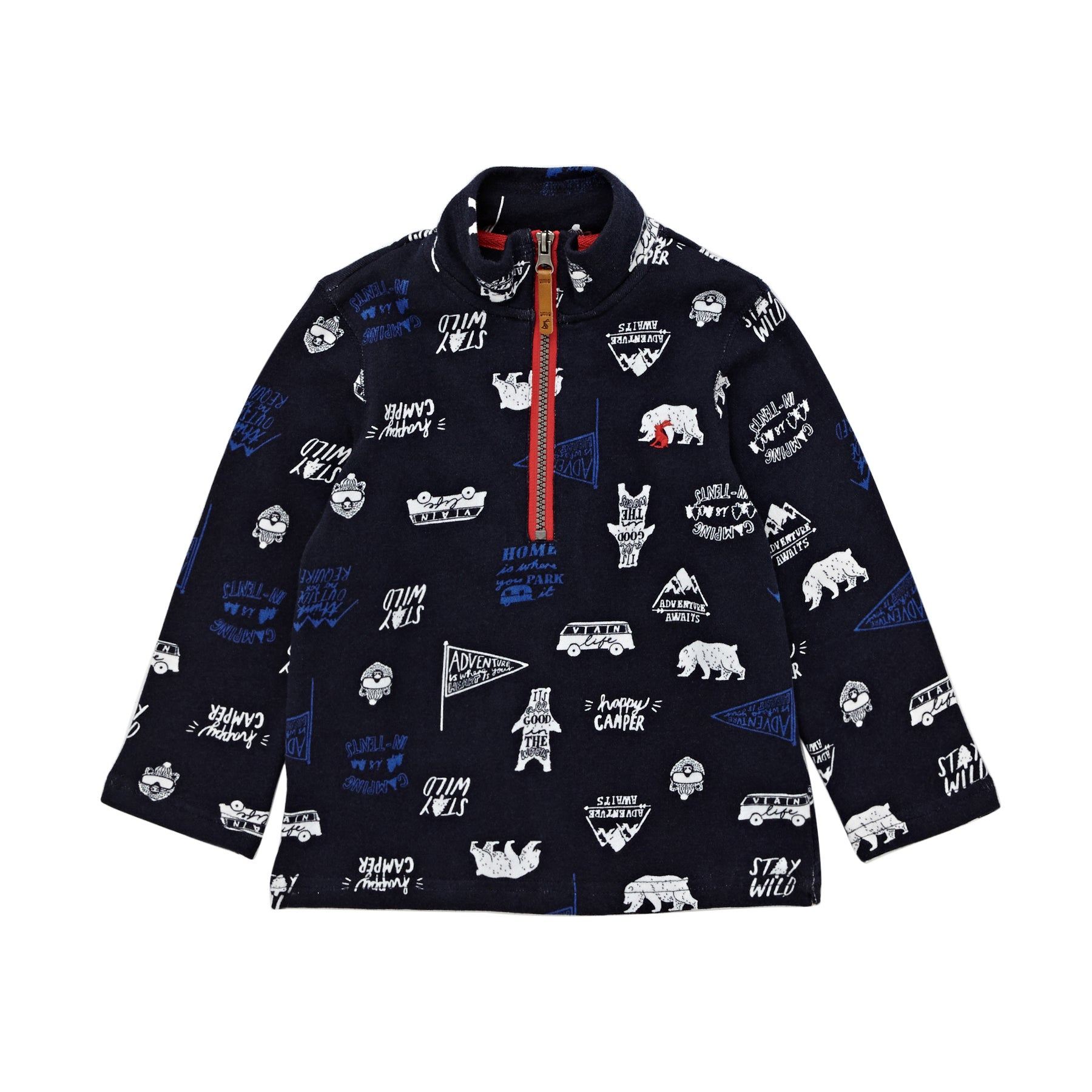 Joules Dale Boys Sweater - Navy Happy Camper