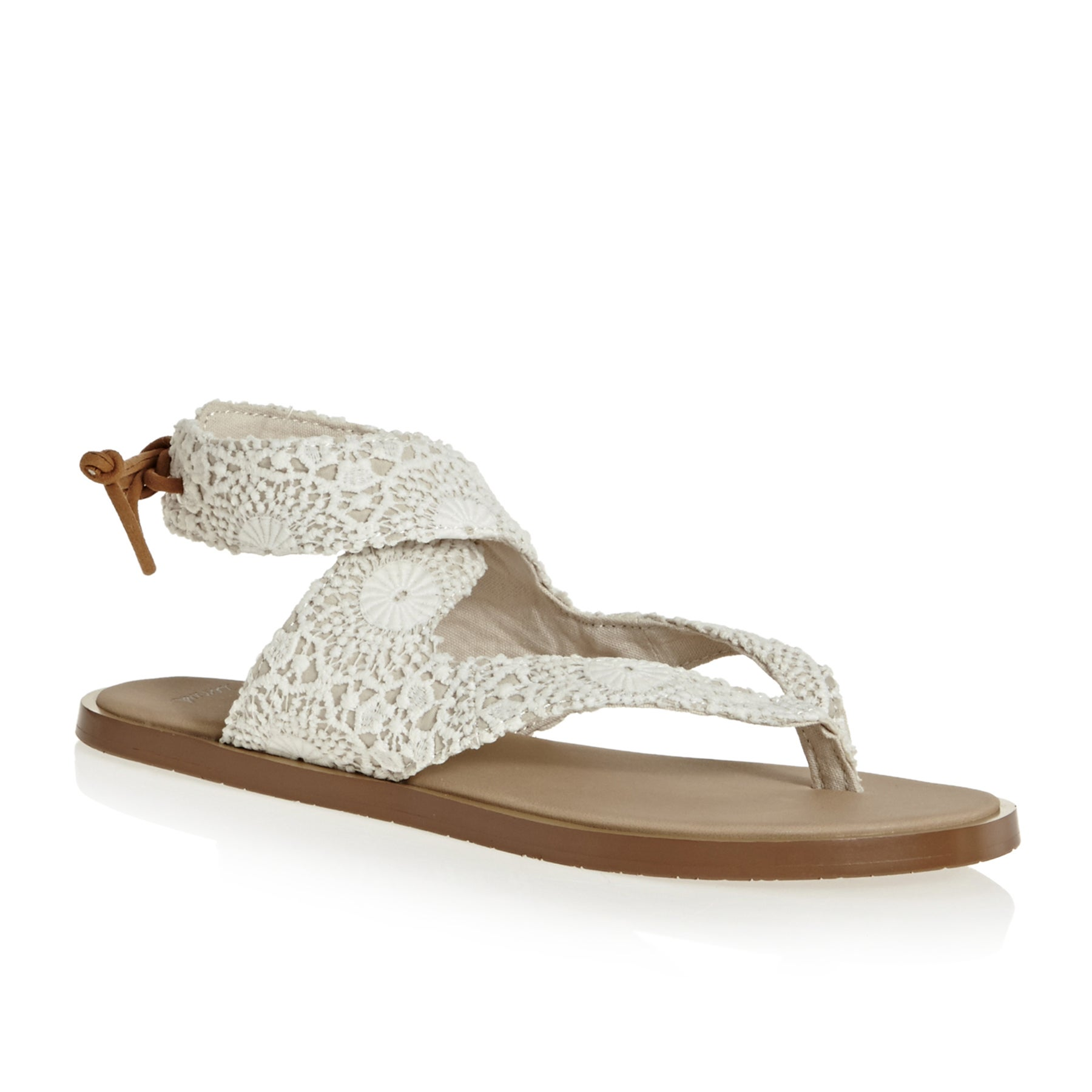 Sanuk W Yoga Mariposa Crochet Womens Sandals - White / Oatmeal