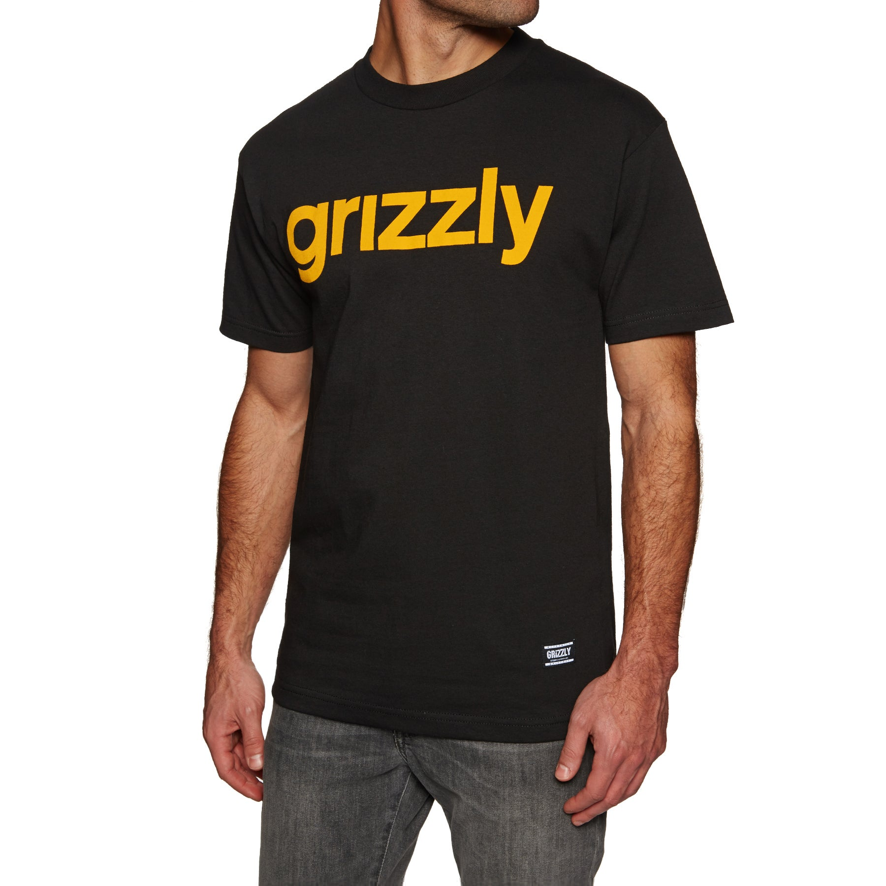 Grizzly Lowercase Short Sleeve T-Shirt - Black/yellow