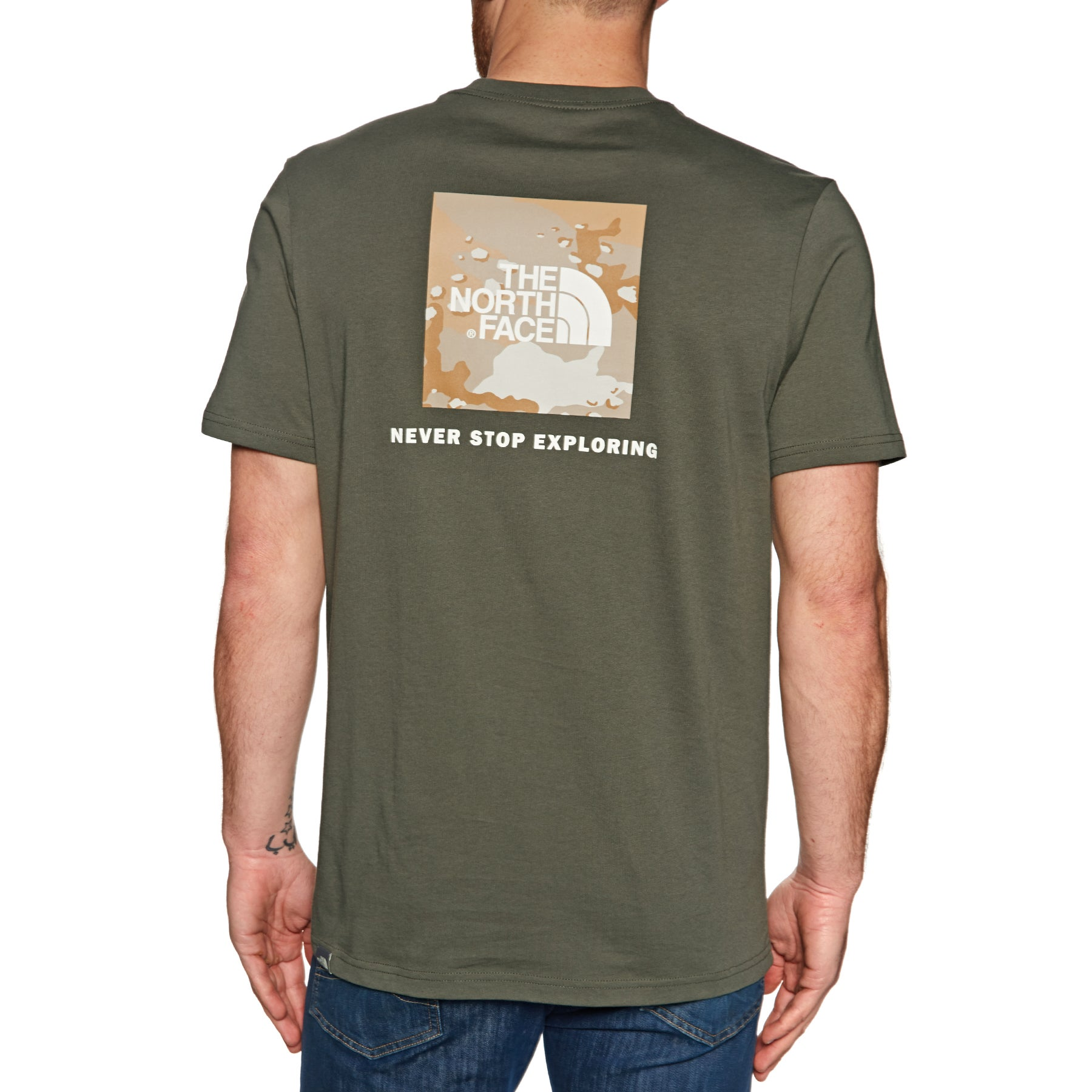 North Face Red Box Short Sleeve T-Shirt - New Taupe Green Kelp Tan