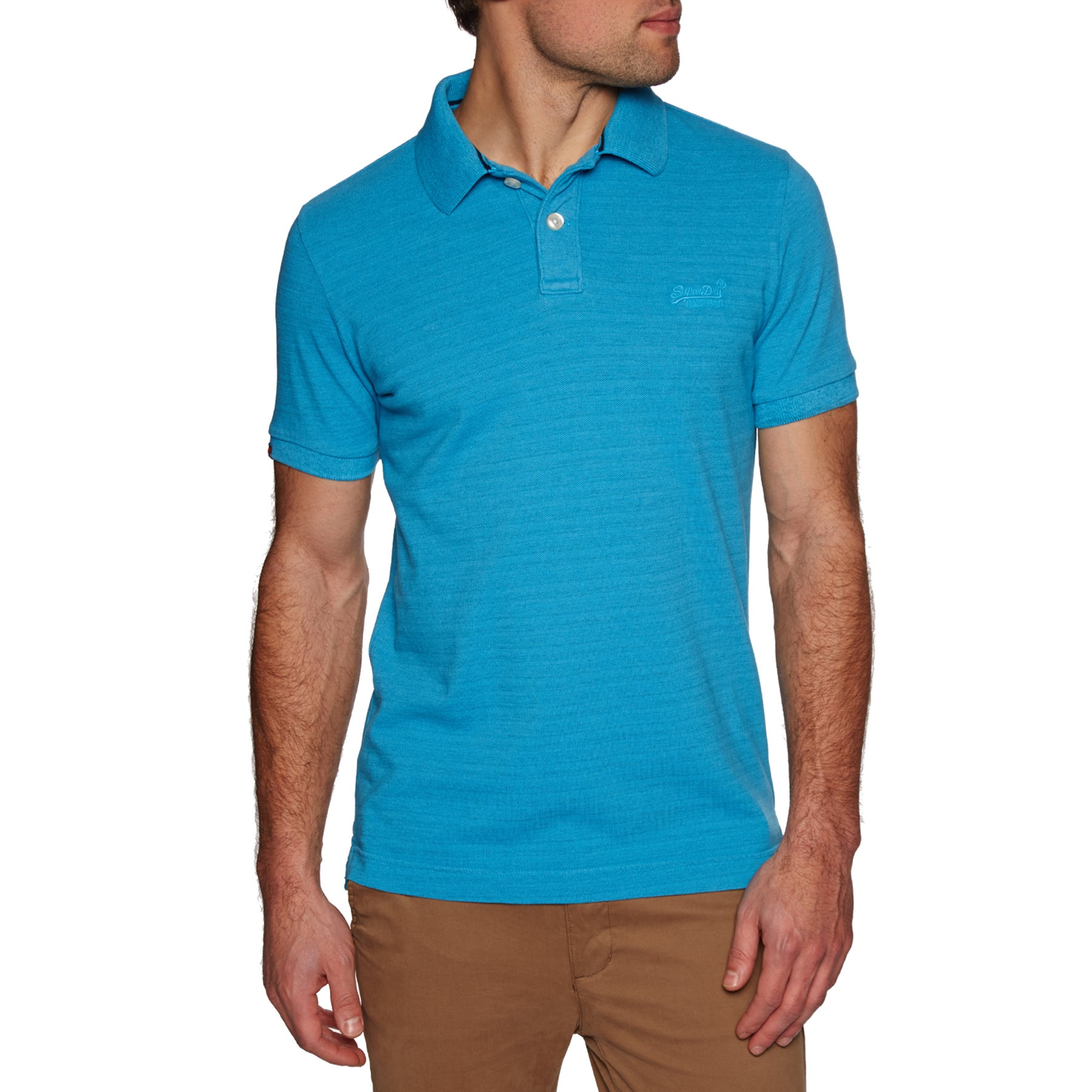 Superdry Vintage Destroyed Polo Shirt - Beach Blue Marl