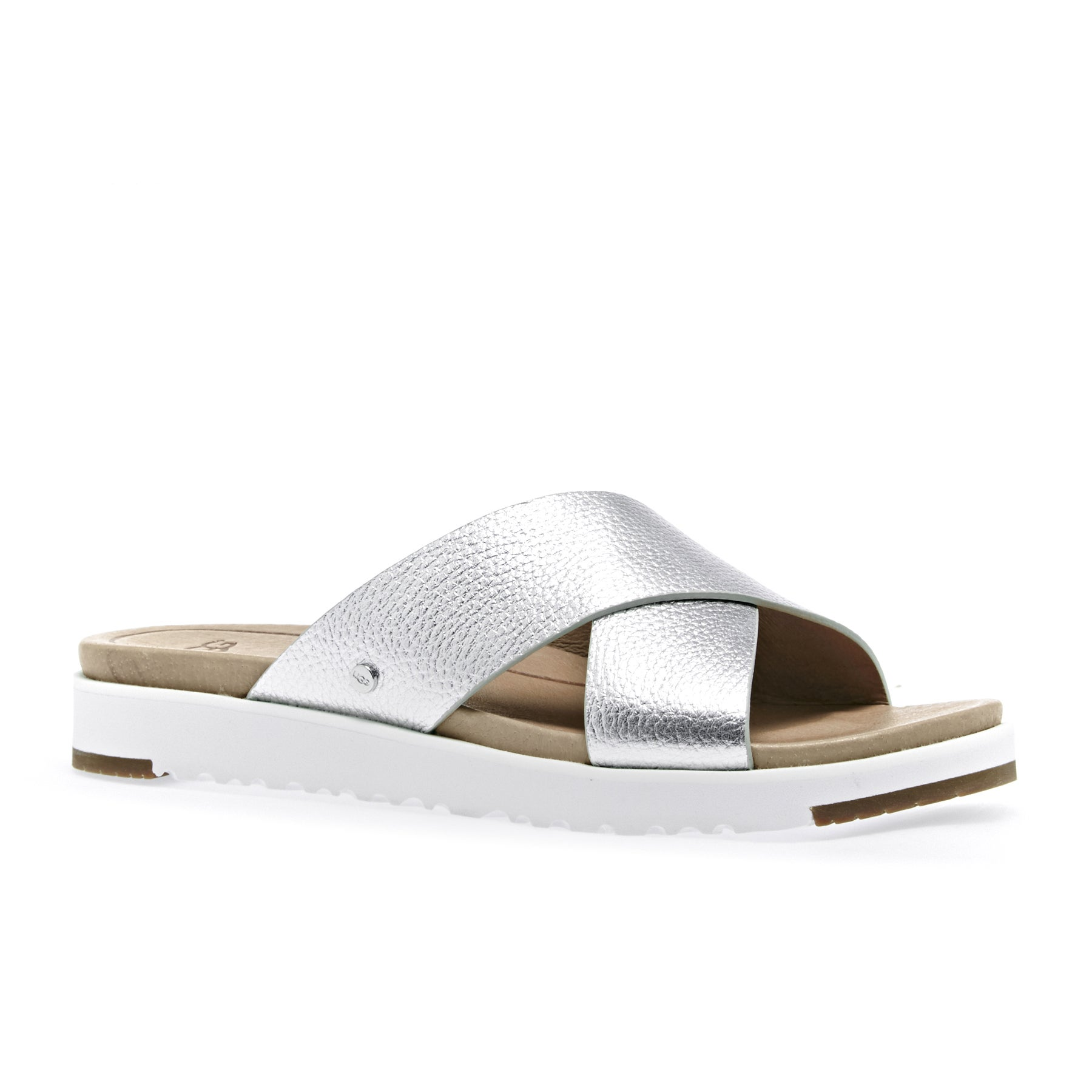 UGG Kari Metallic Slider Sandals - Silver