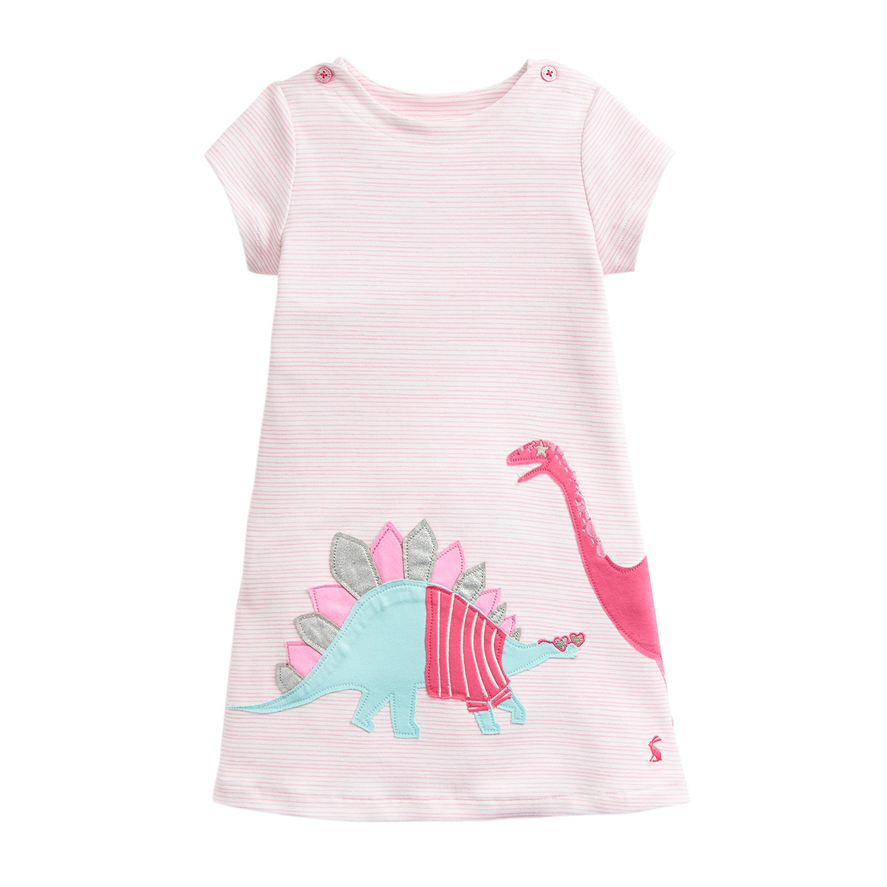 Joules Kaye Applique Girls Dress - Pink Stripe Dinos