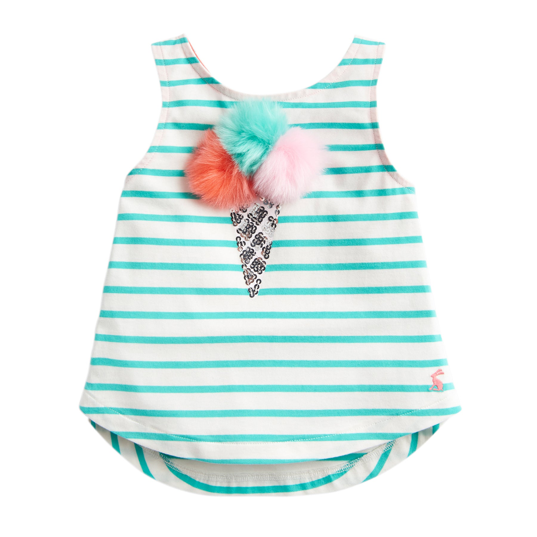 Joules Lou Luxe Girls Tank Vest - Green Stripe Ice Cream
