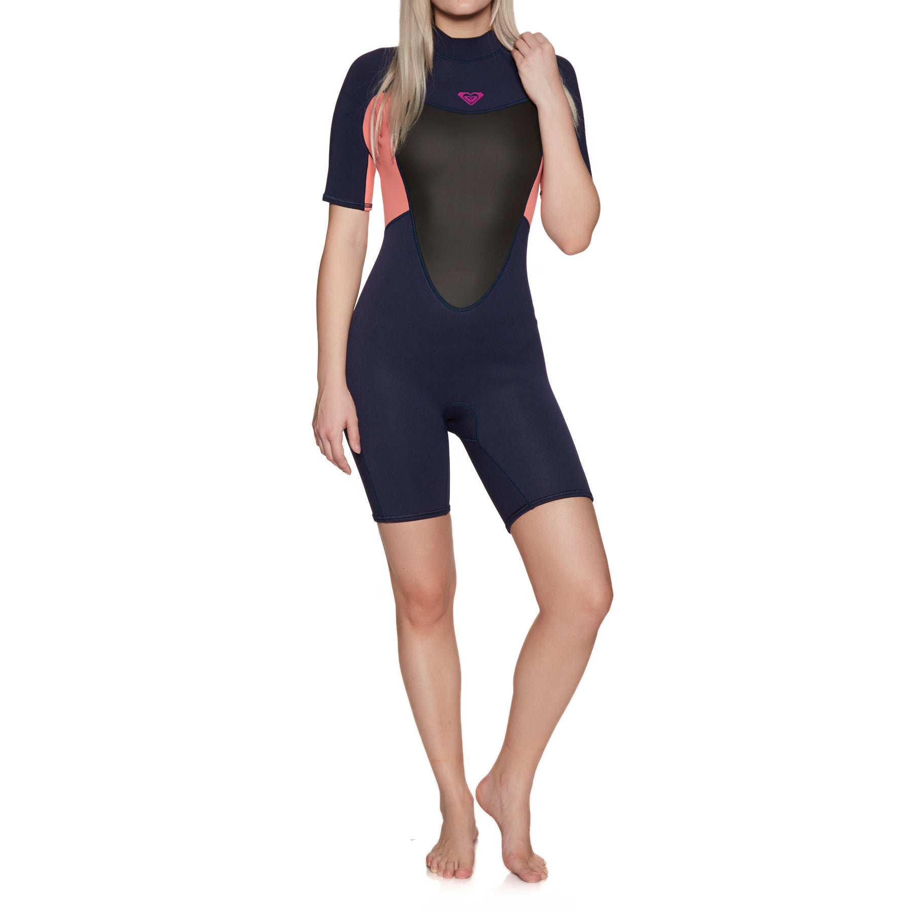 Roxy 2mm Prologue Back-Zip Shorty Womens Wetsuit - Blue Ribbon Coral Flame