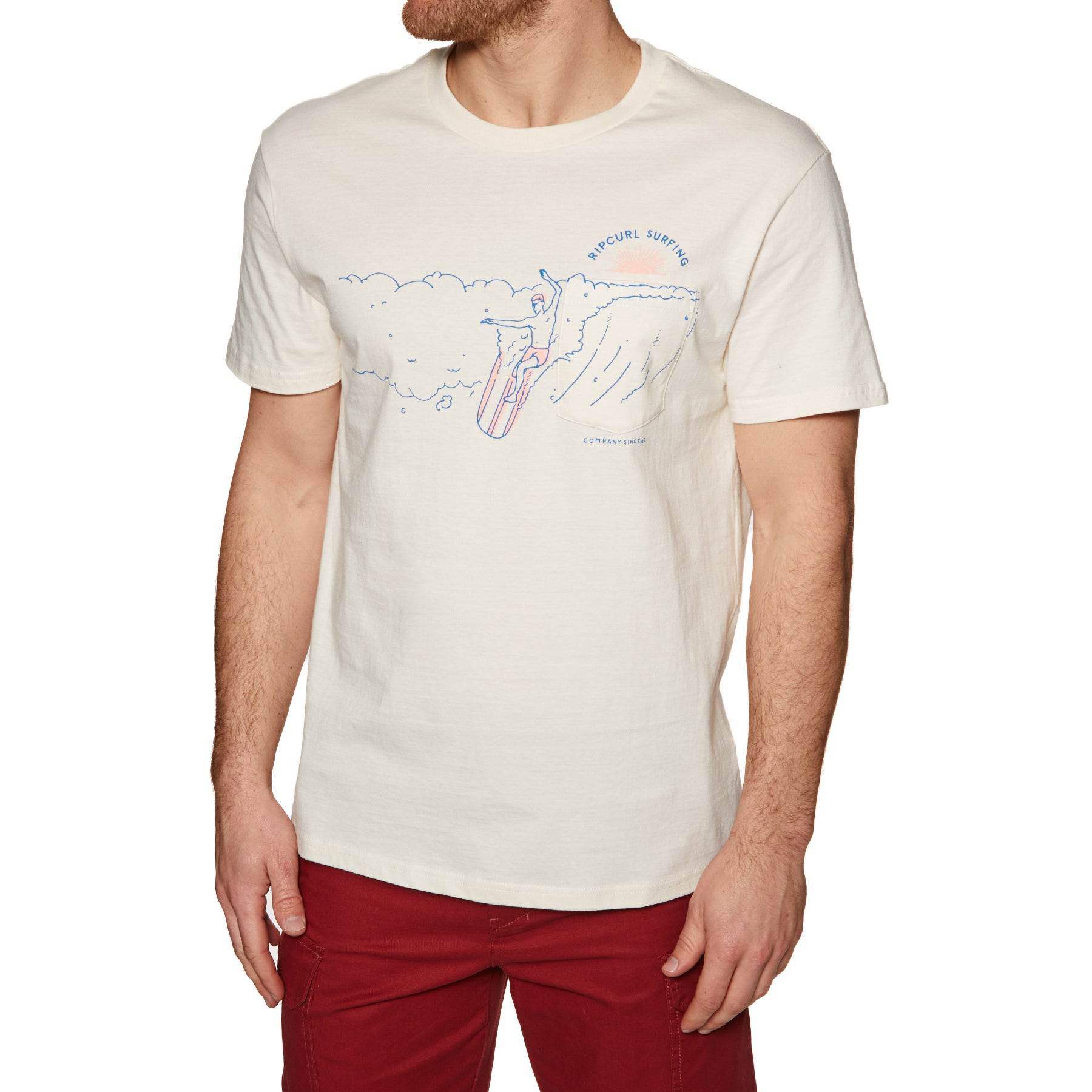 Rip Curl On The Gun Short Sleeve T-Shirt - Off White