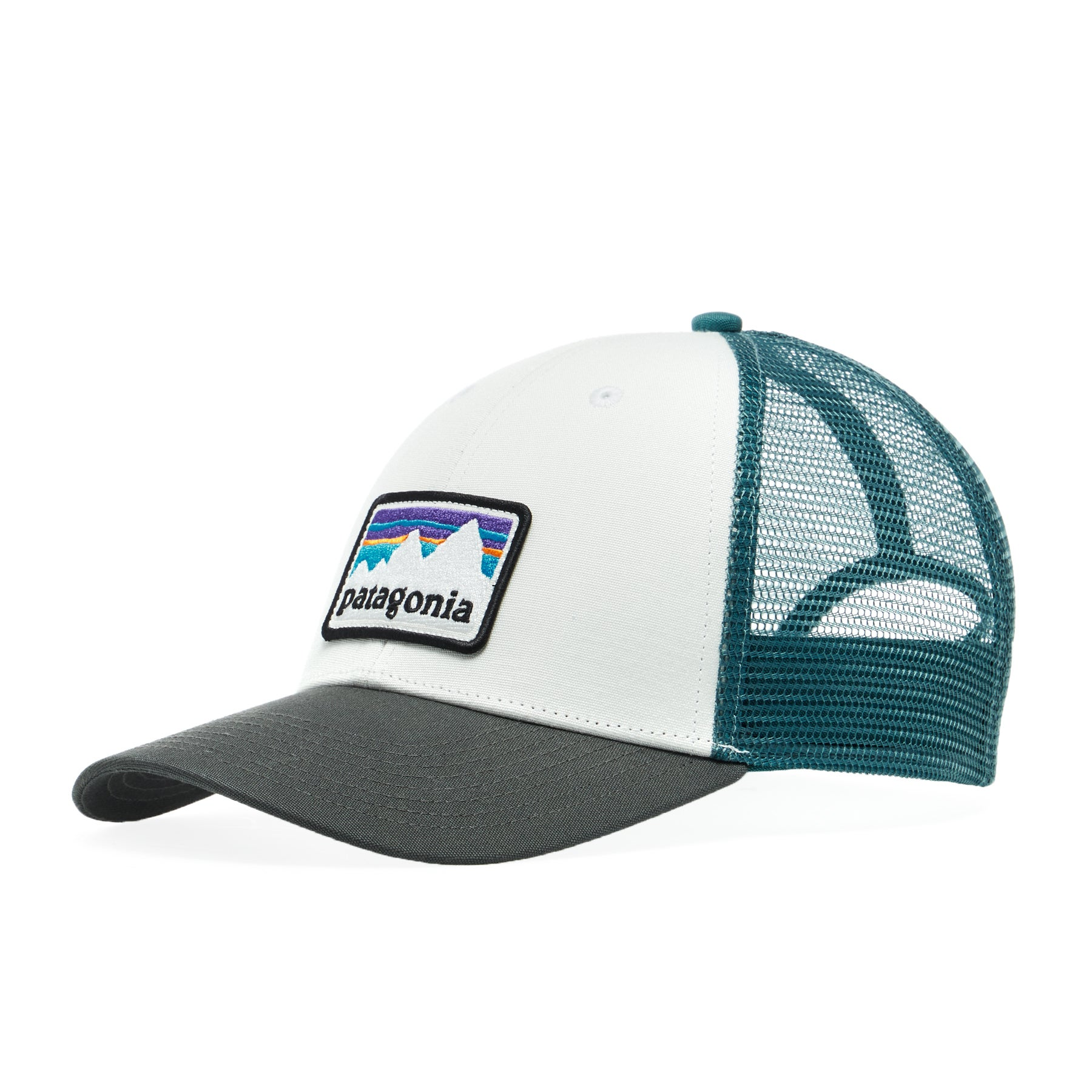 Casquette Patagonia Shop Sticker Patch Lopro Trucker - White Forge Grey