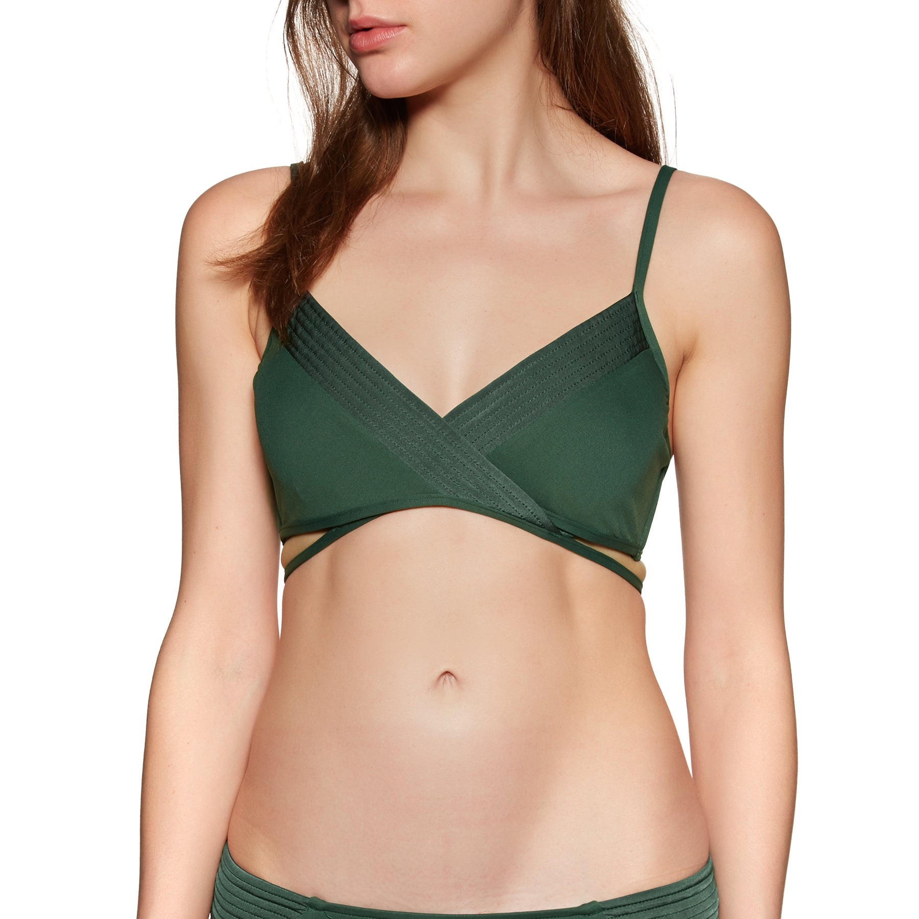 Haut de maillot de bain Seafolly Quilted Wrap Front Booster - Forest