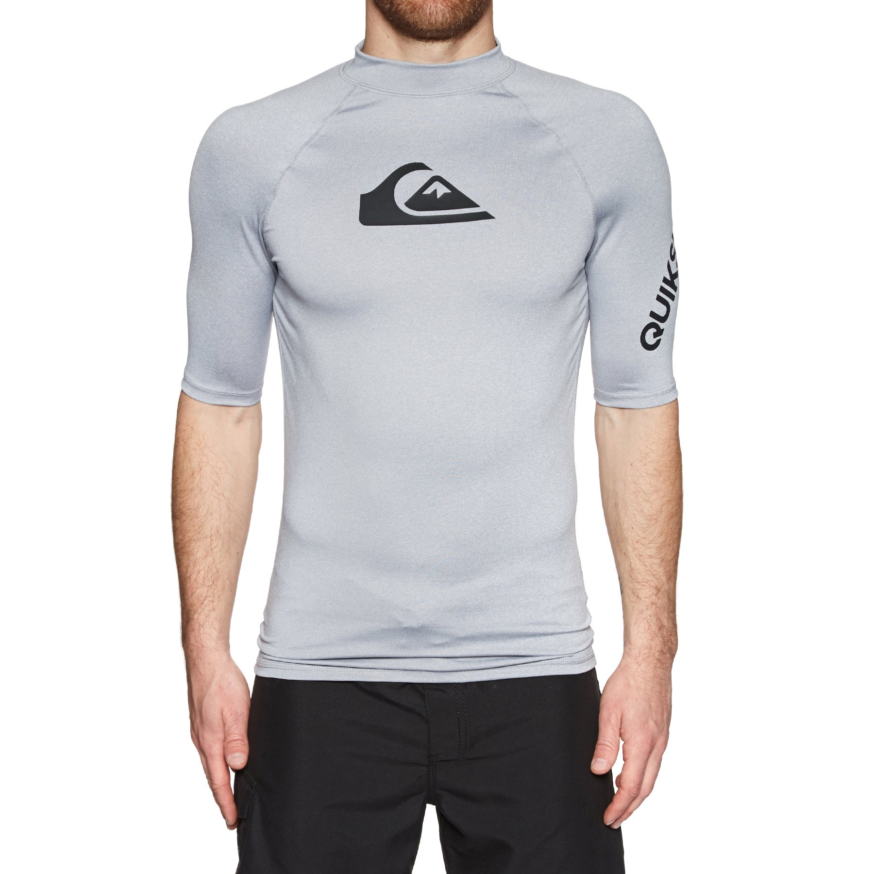 Quiksilver All Time Short Sleeve UPF 50 Rash Vest - Light Grey Heather