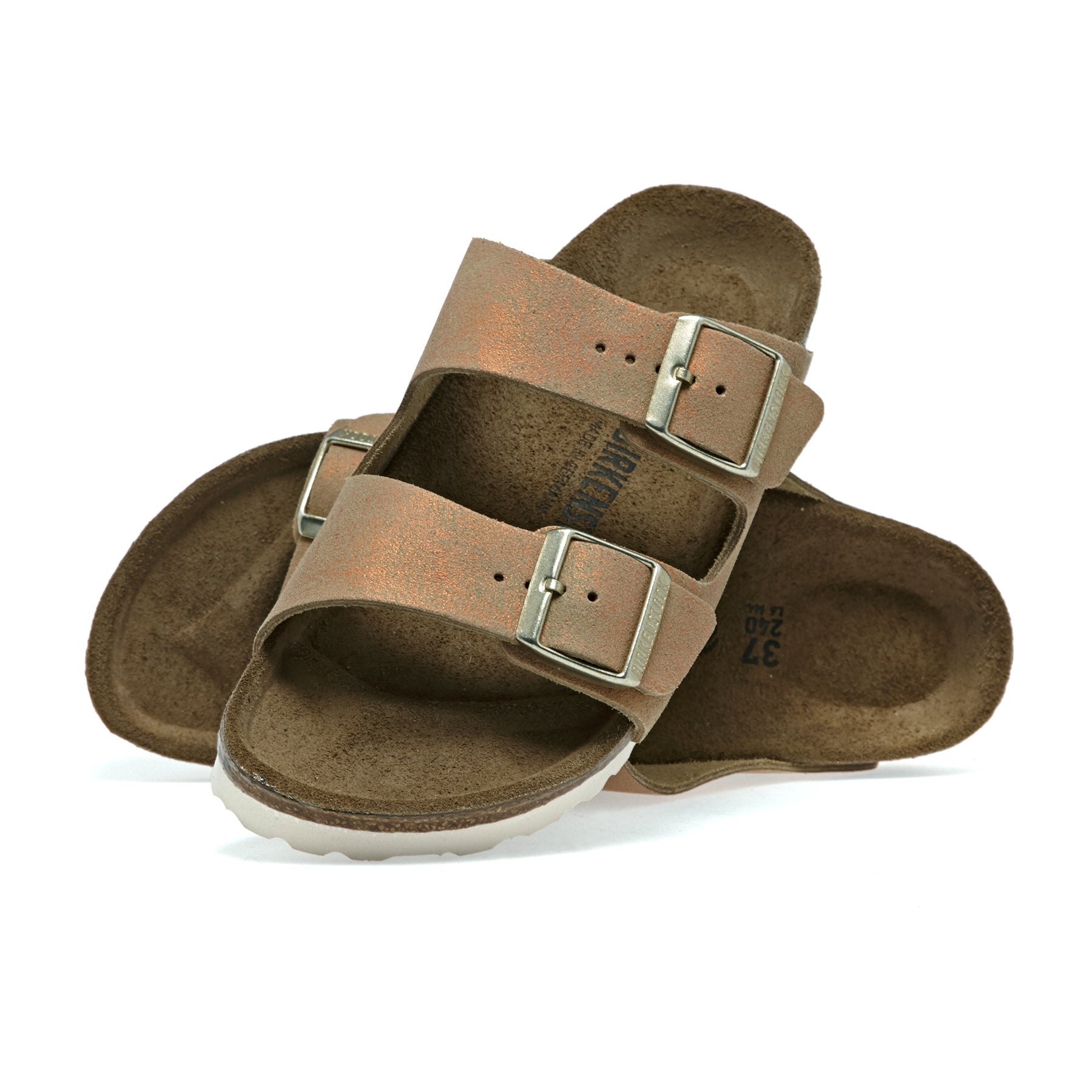 Birkenstock Arizona Sandals - Washed Metallic Sea Copper