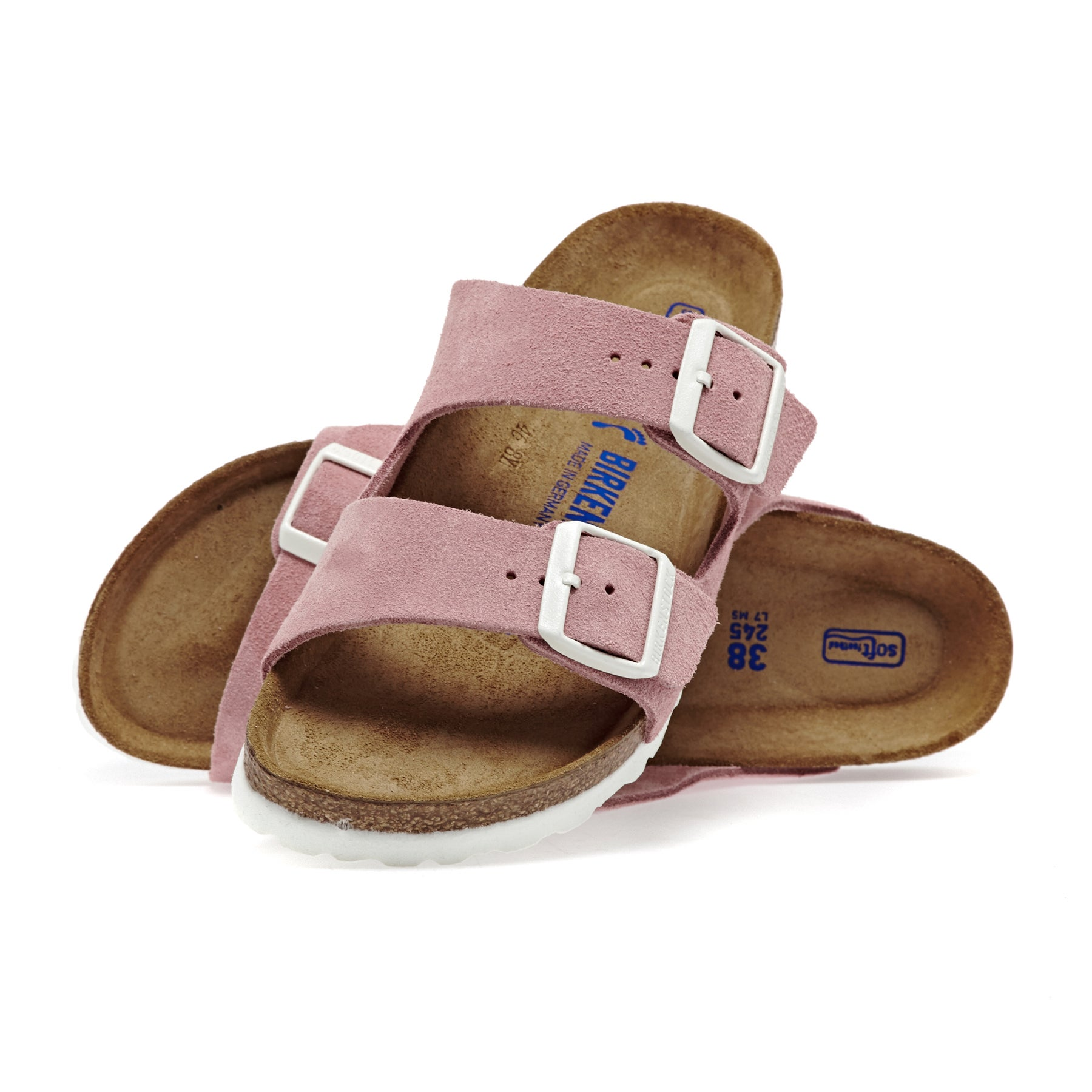 Birkenstock Arizona Suede Leather Soft Footbed Narrow Womens Sandals - Rose