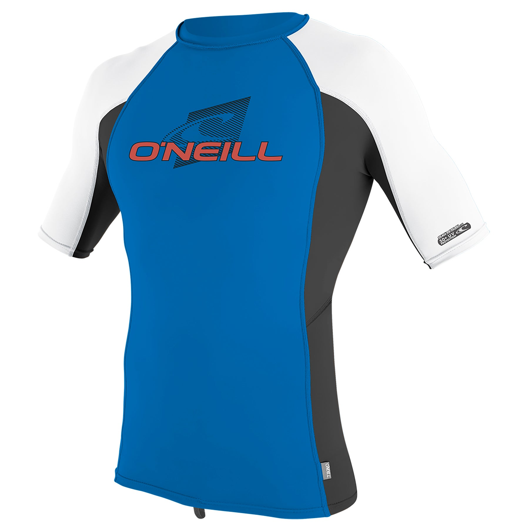 O Neill Skins Short Sleeve Crew Boys Rash Vest - Ocean Black White