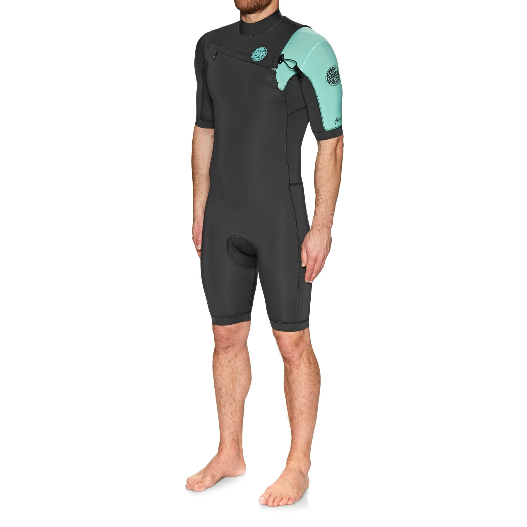 Rip Curl Aggro 2mm 2019 Chest Zip Shorty Wetsuit - Teal