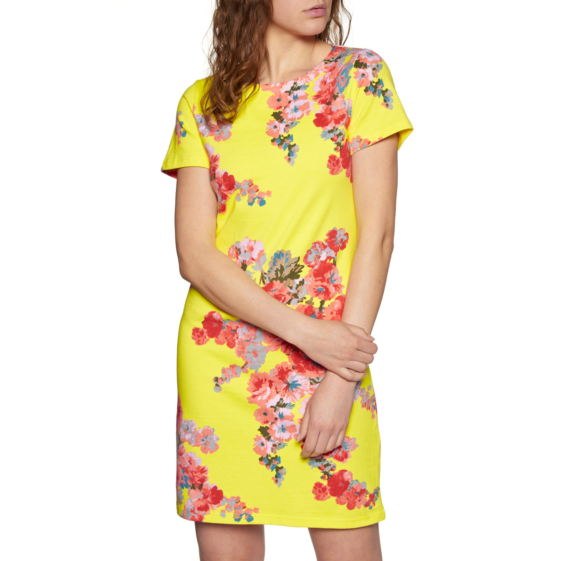 Joules Riviera Short Sleeve Jersey Print Dress - Lemon Floral