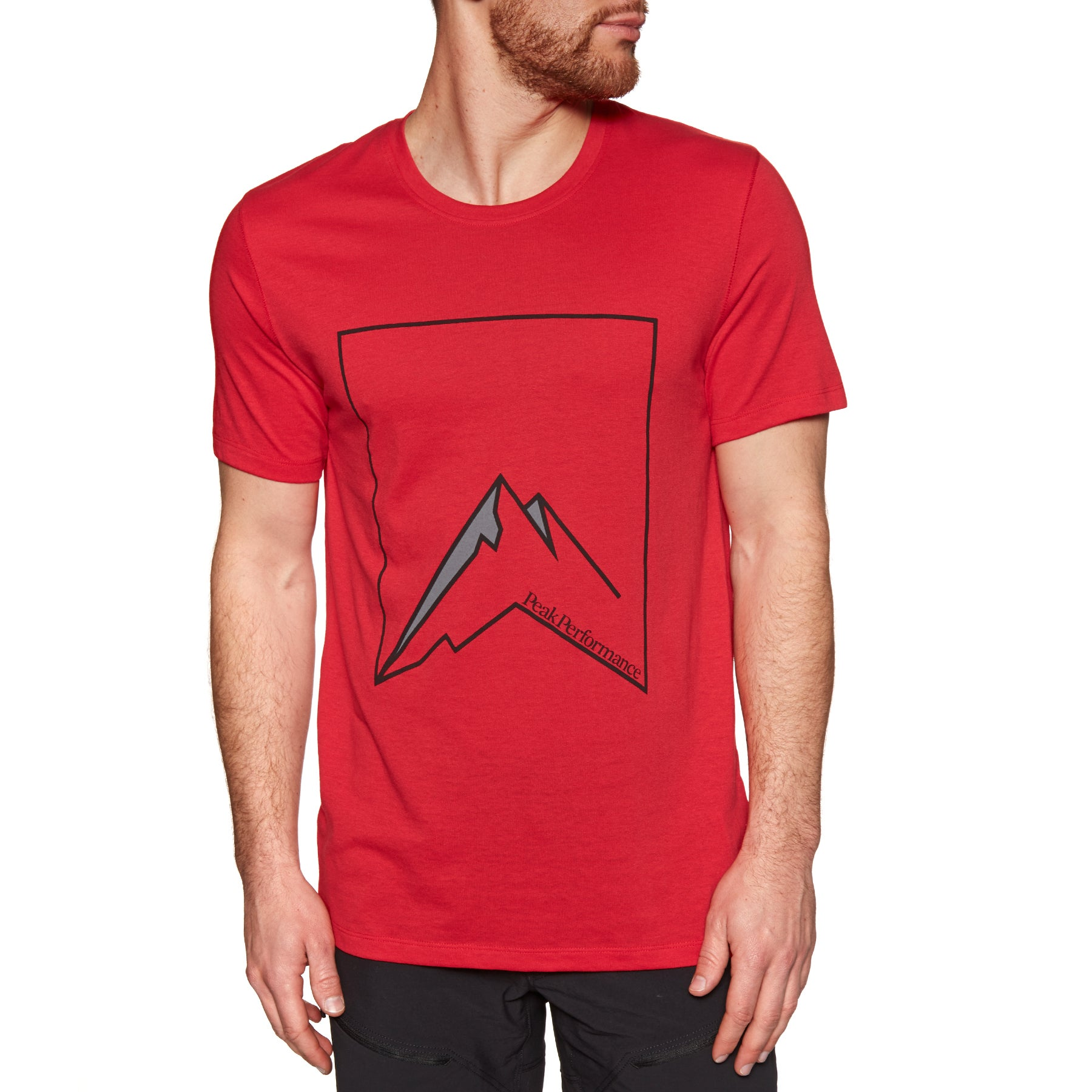 T-Shirt de Manga Curta Peak Performance Explore Mountain Outdoor - Chinese Red
