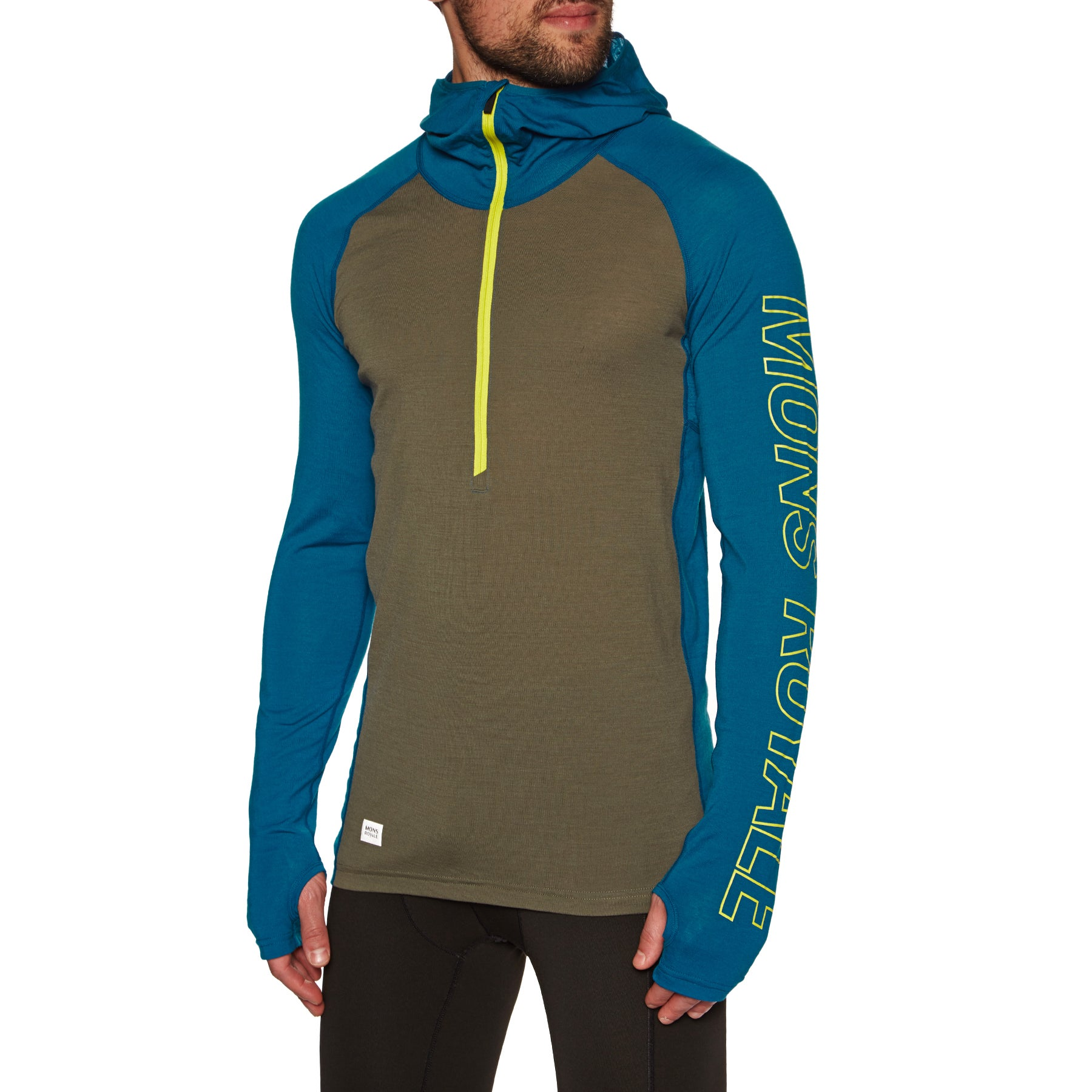 Mons Royale Temple Tech Hooded Base Layer Top - Oily Blue Olive