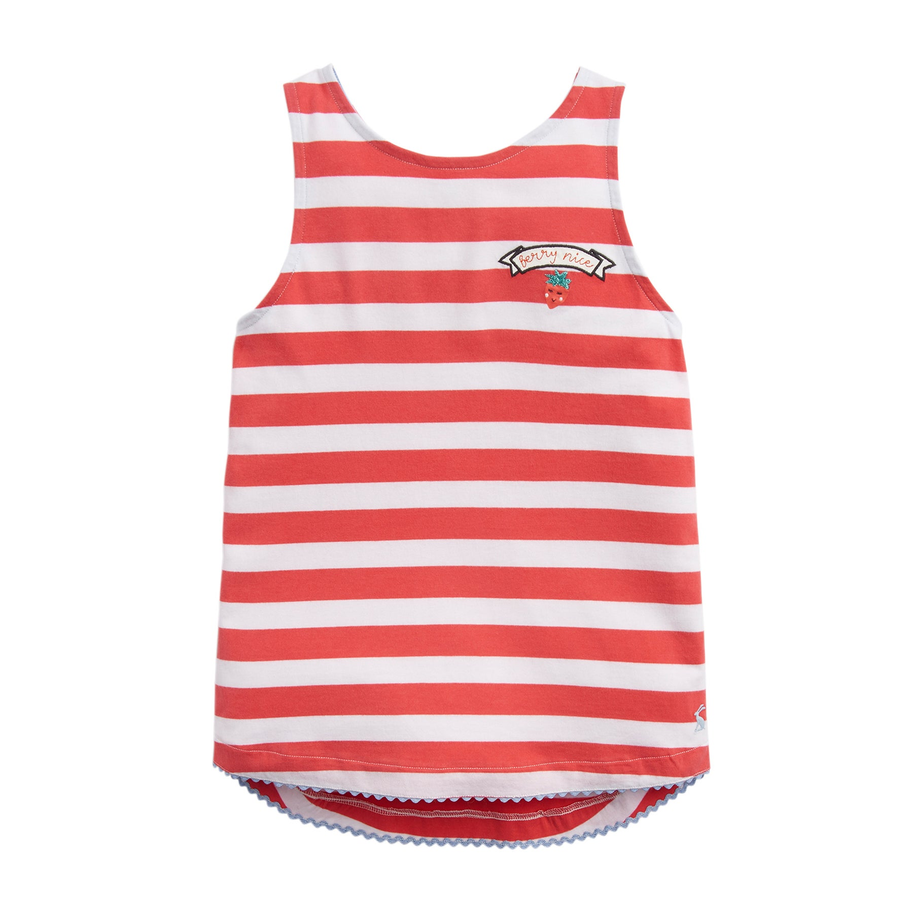 Joules Lou Girls Tank Vest - Coral White Stripe Berry