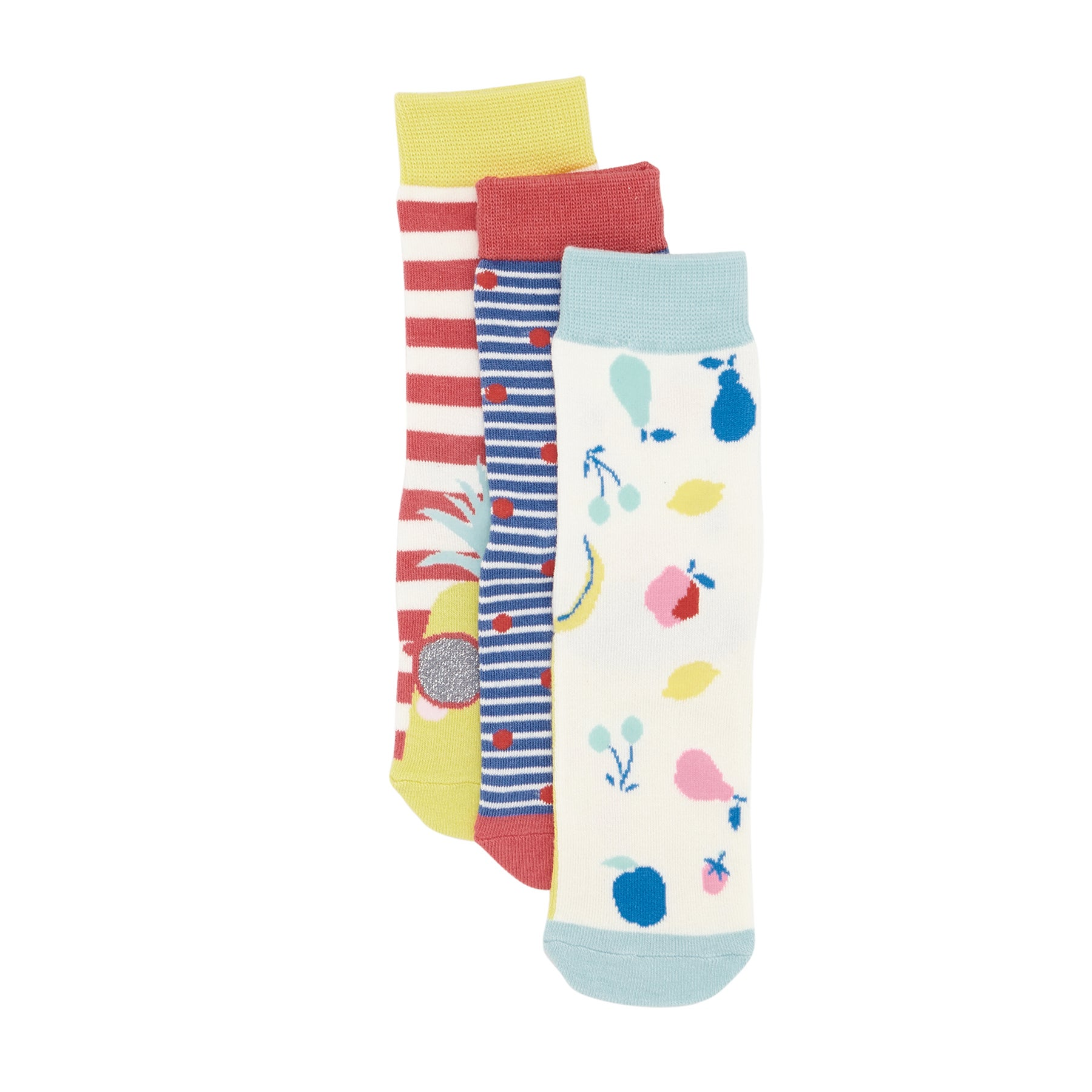 Joules Set Of Three Bamboo Girls Socks - Coral Stripe Pineapple