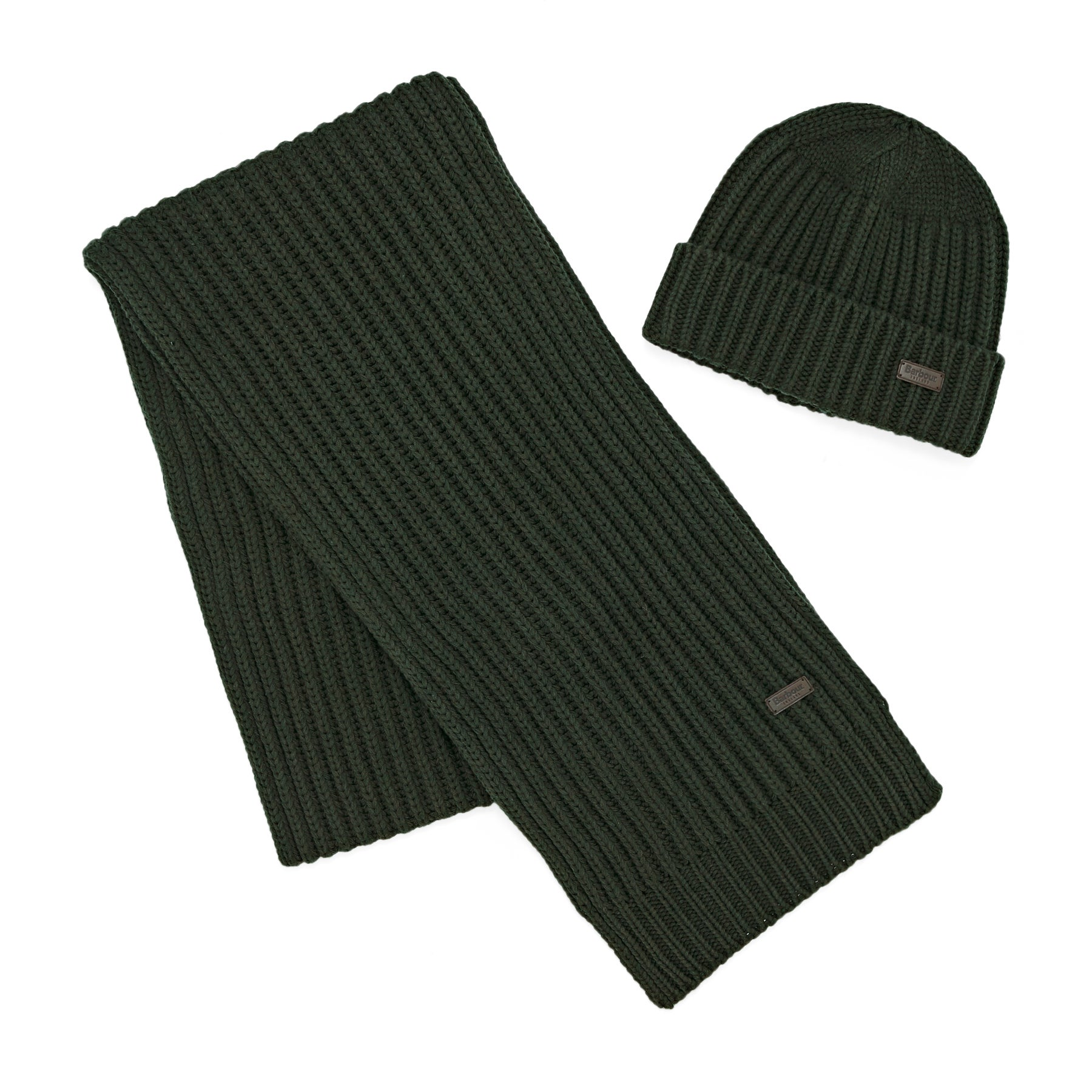 Barbour Chunky Rib Knitted Giftset Scarf and Beanie - Green