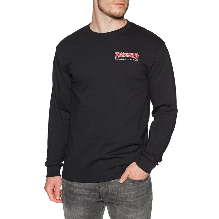 95b5b042e570 Thrasher Embroidered Outline Long Sleeve T-Shirt | Free Delivery Options